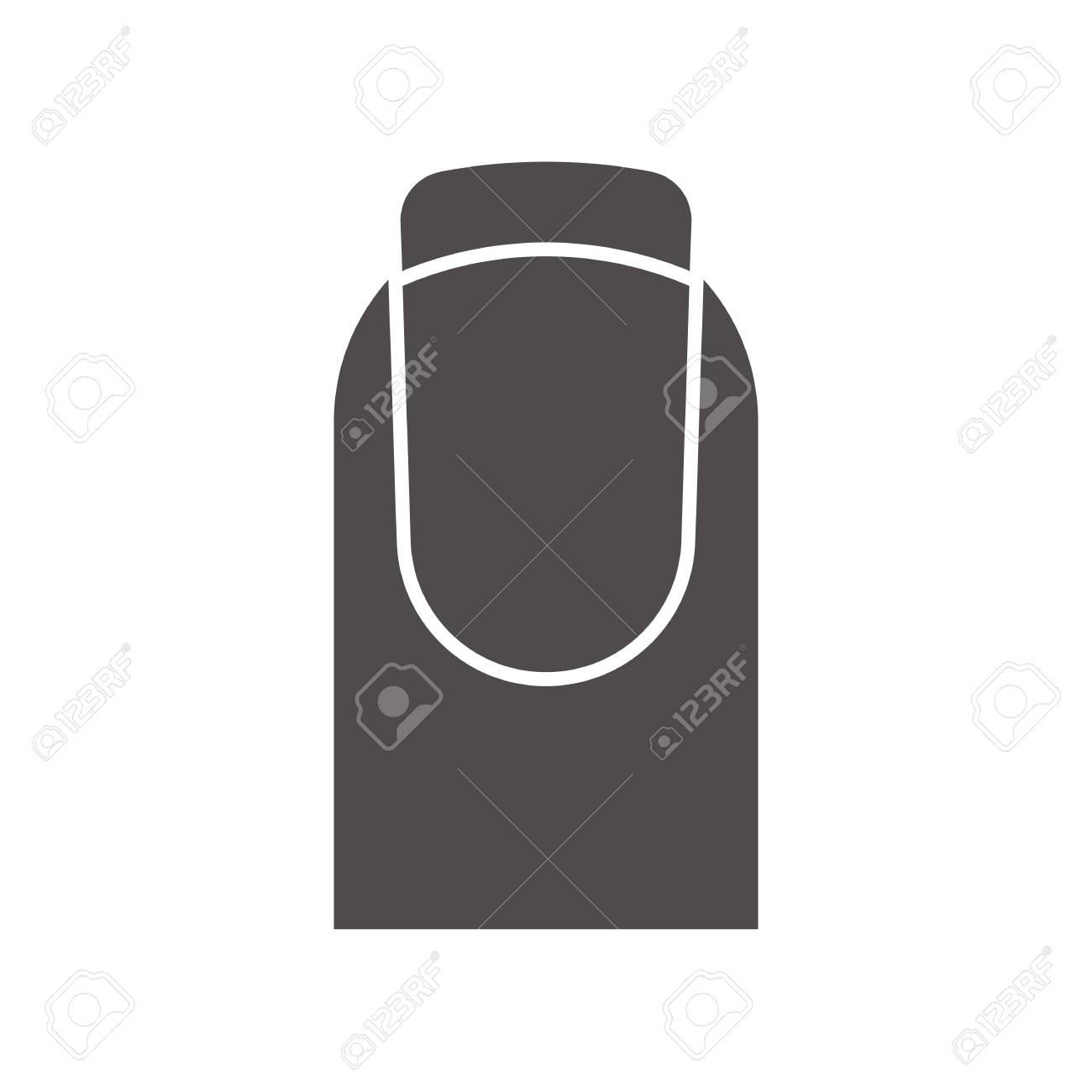 Französisch Maniküre-Symbol. Schattenbild-Symbol. Frauennagel Mit ...