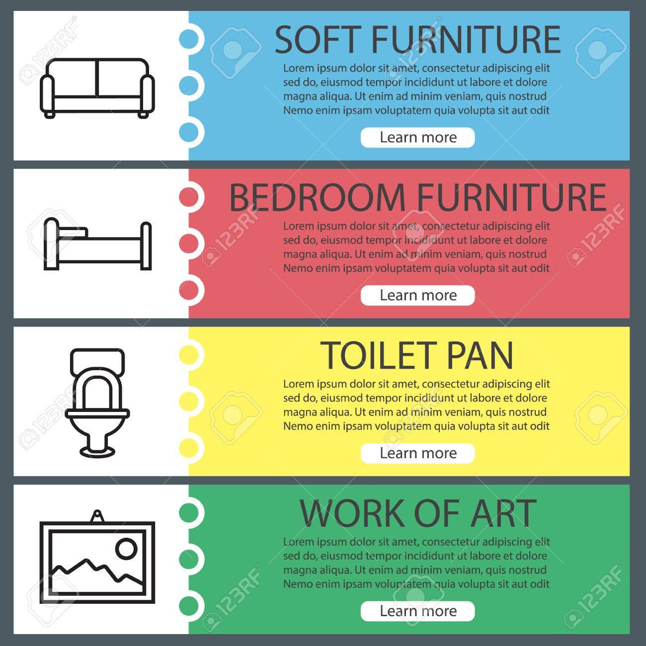 Room Interior Banner Templates Set. Furniture. Sofa, Bed, Toilet ...