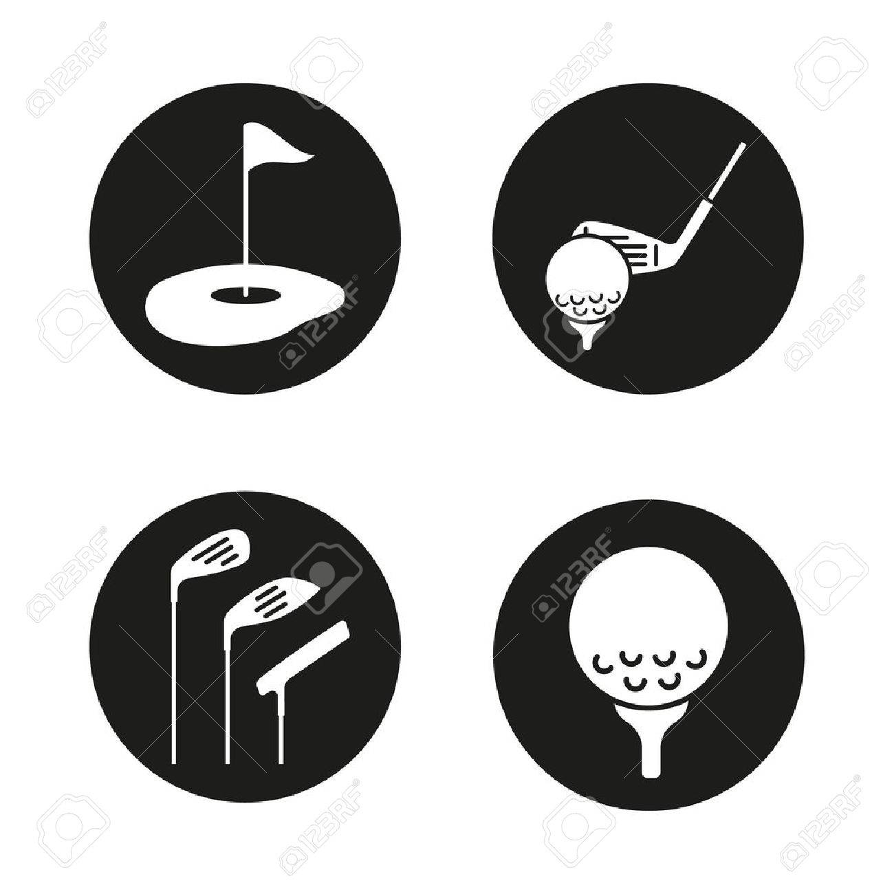 Golf Icons Set Golf Course Clubs Ball On Tee Vector White Royalty Free Cliparts Vectors And Stock Illustration Image 76252635