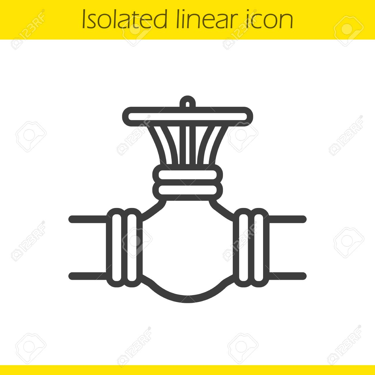 Gas Pipe Valve Linear Icon Thin Line Illustration Contour Symbol