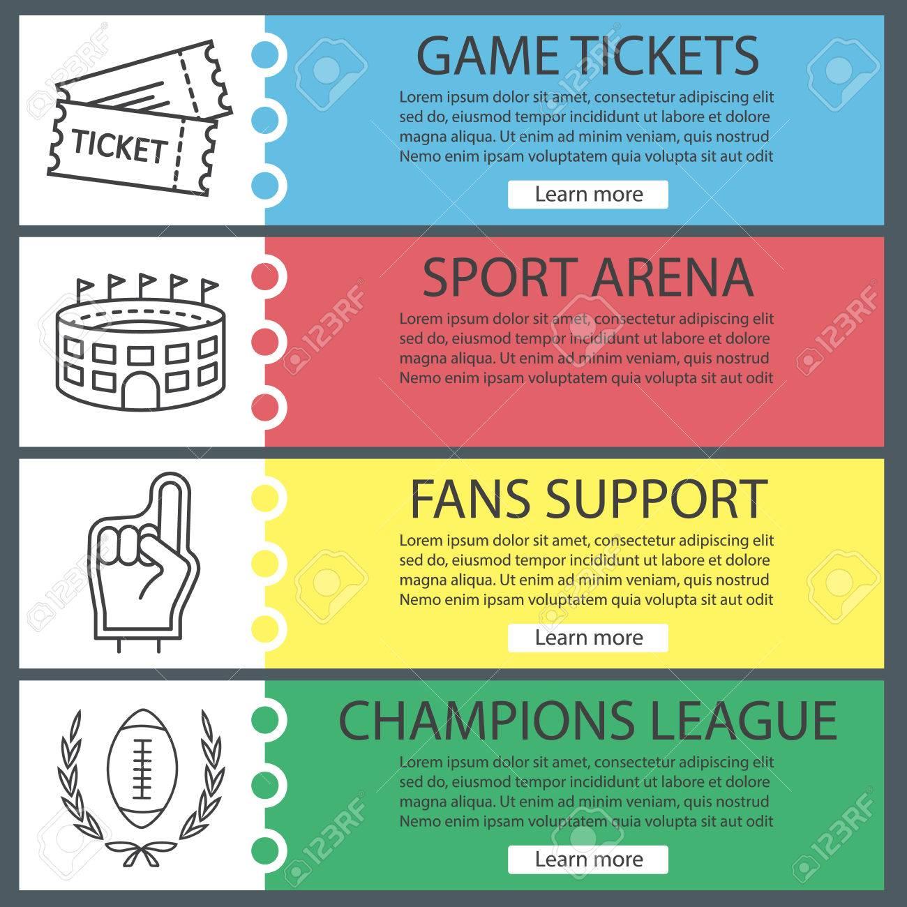 Sport-Spiel-Banner-Vorlagen Gesetzt. Tickets, Arena, Fans Schaum ...