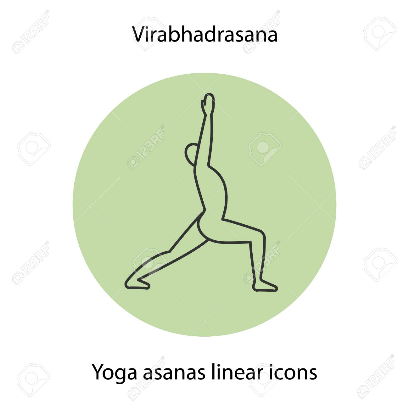 Virabhadrasana Yoga Position Linear Icon Thin Line Illustration