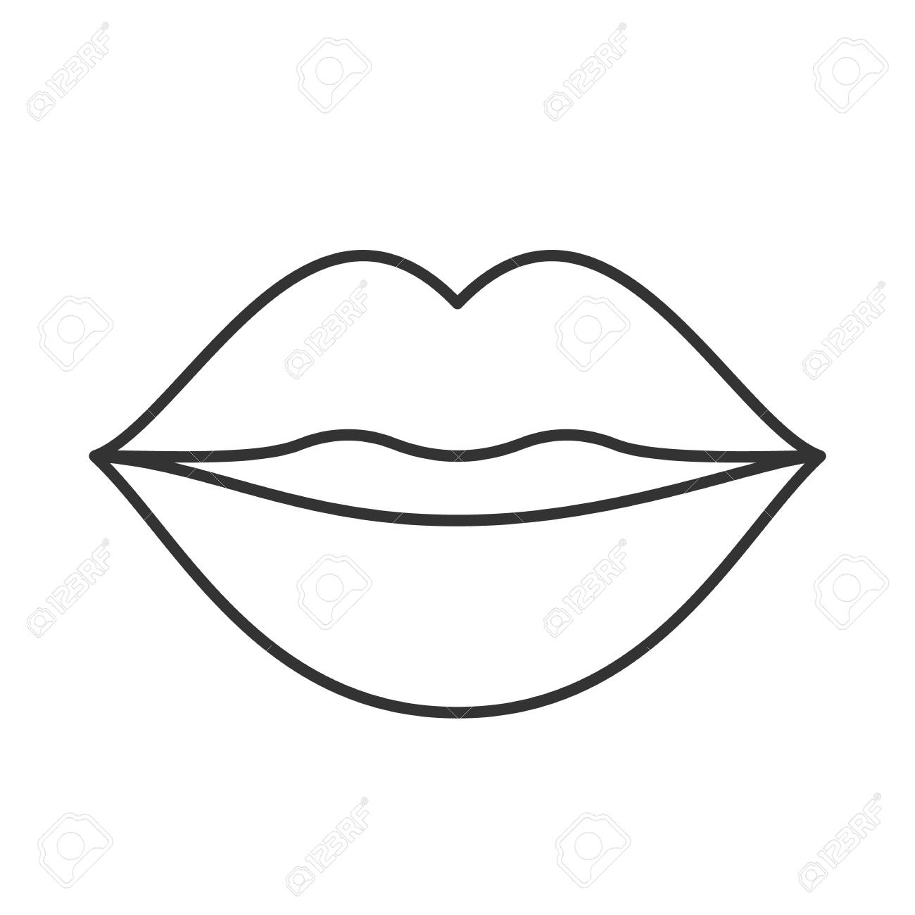 kiss linear icon thin line illustration woman s lips contour