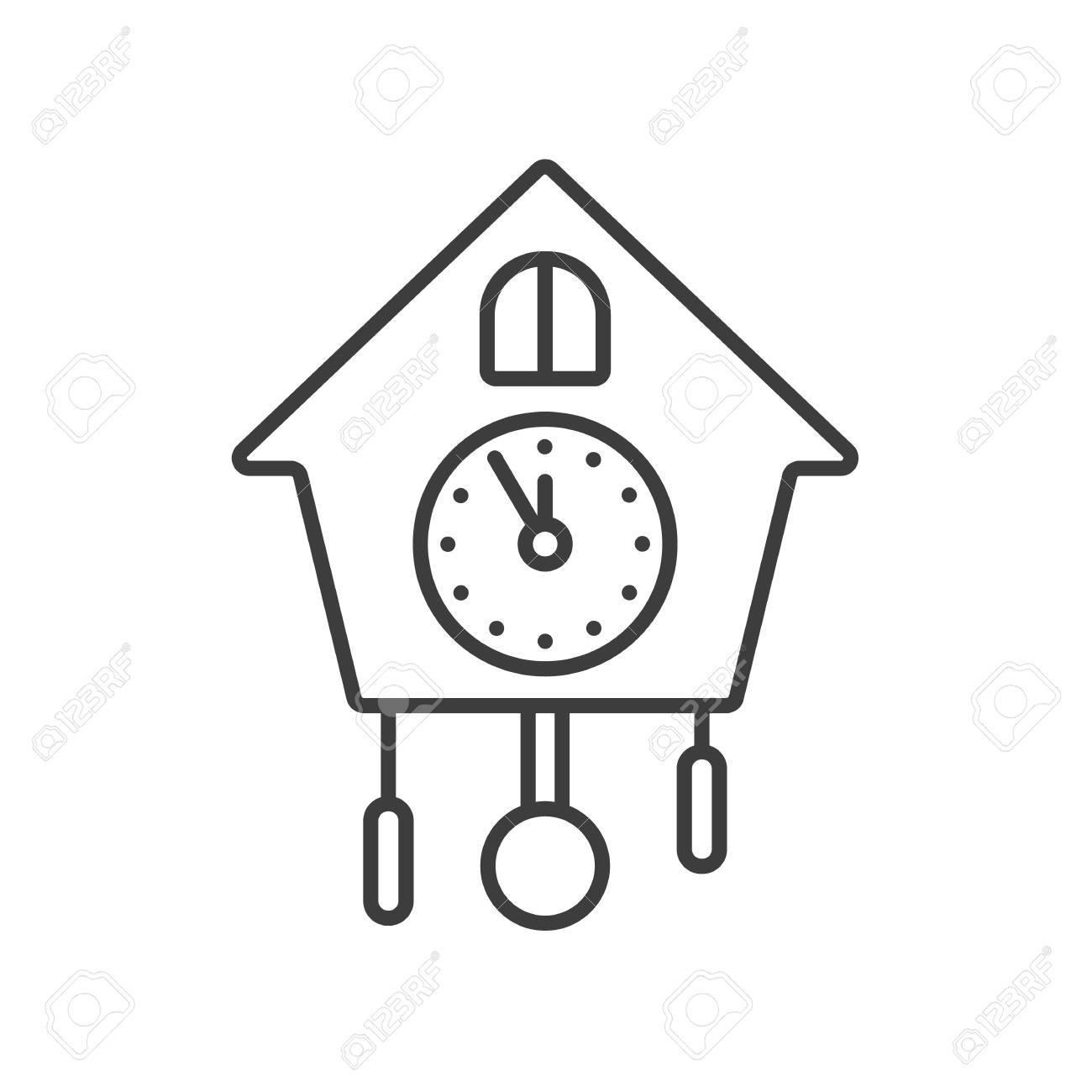 Wall Clock Linear Icon Thin Line Illustration Contour Symbol