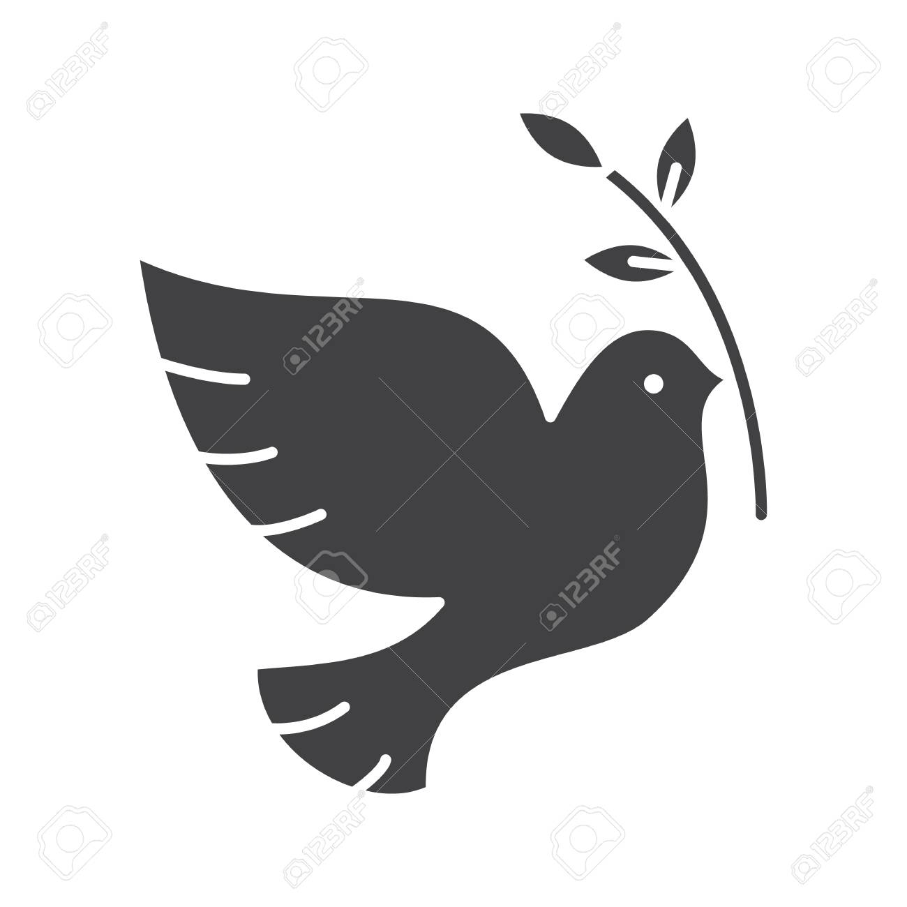 Dove with olive branch glyph icon  Peace Day silhouette symbol