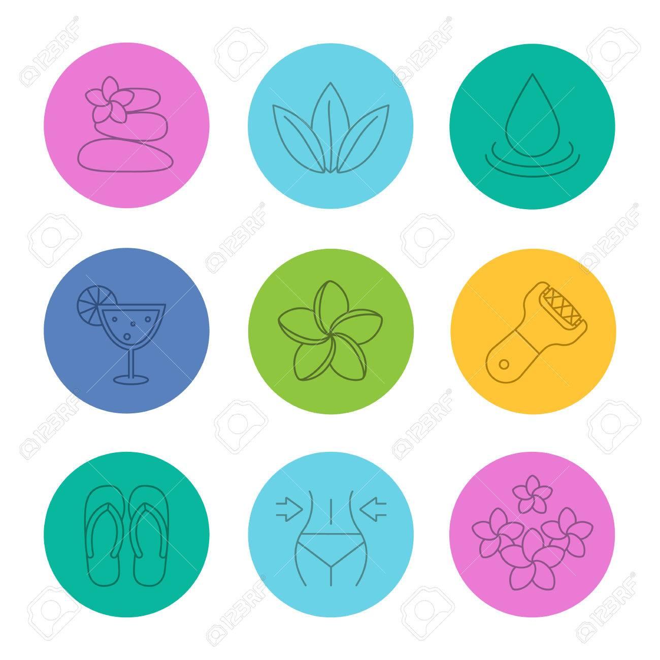 Set De Iconos Lineales De Salón Spa. Masaje De Piedras, Hojas, Gota ...