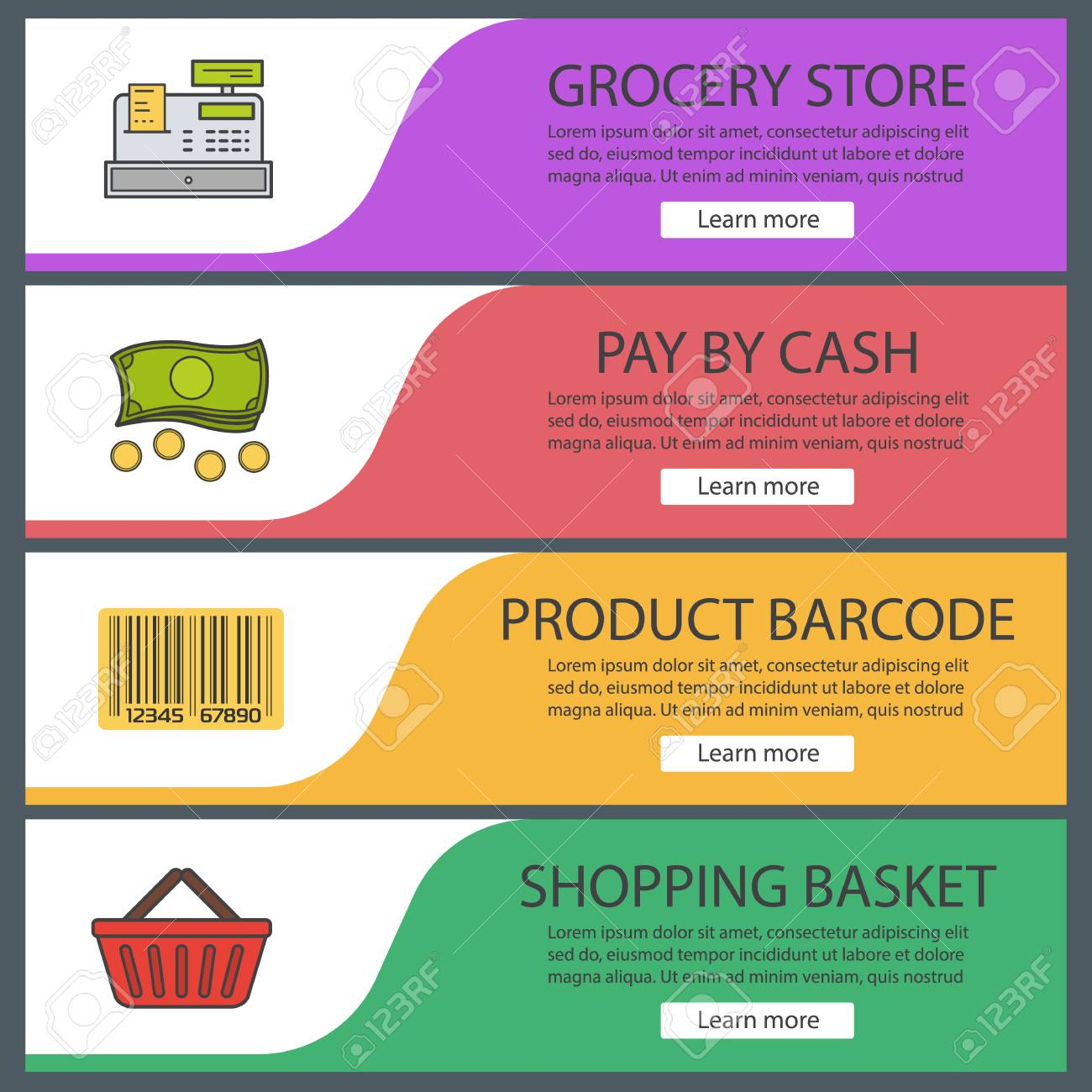 Supermarket Banner Templates Set. Grocery Store. Product Barcode, Cash  Register, Shopping Basket  Grocery Templates