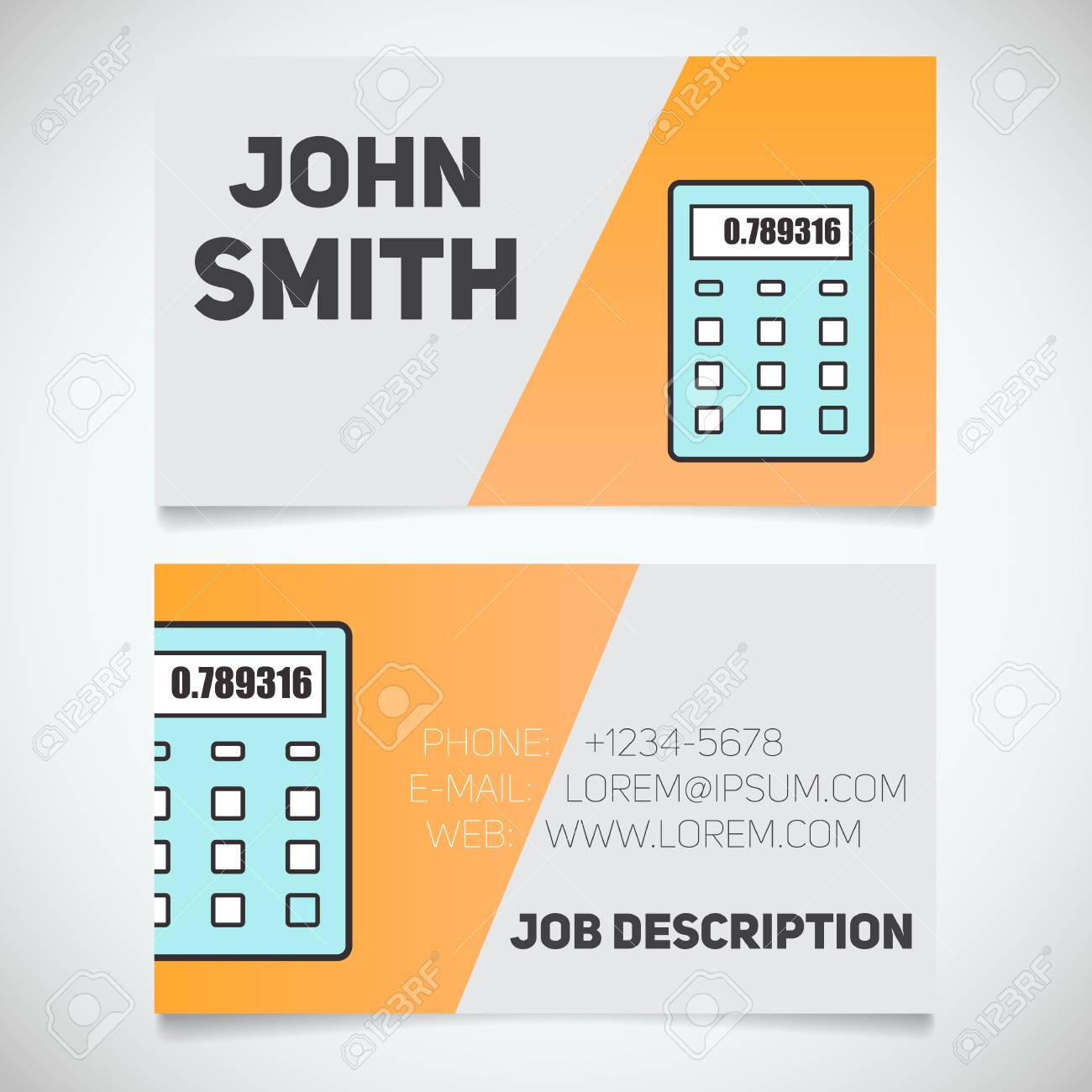 Business Card Print Template With Calculator Logo. Manager ...