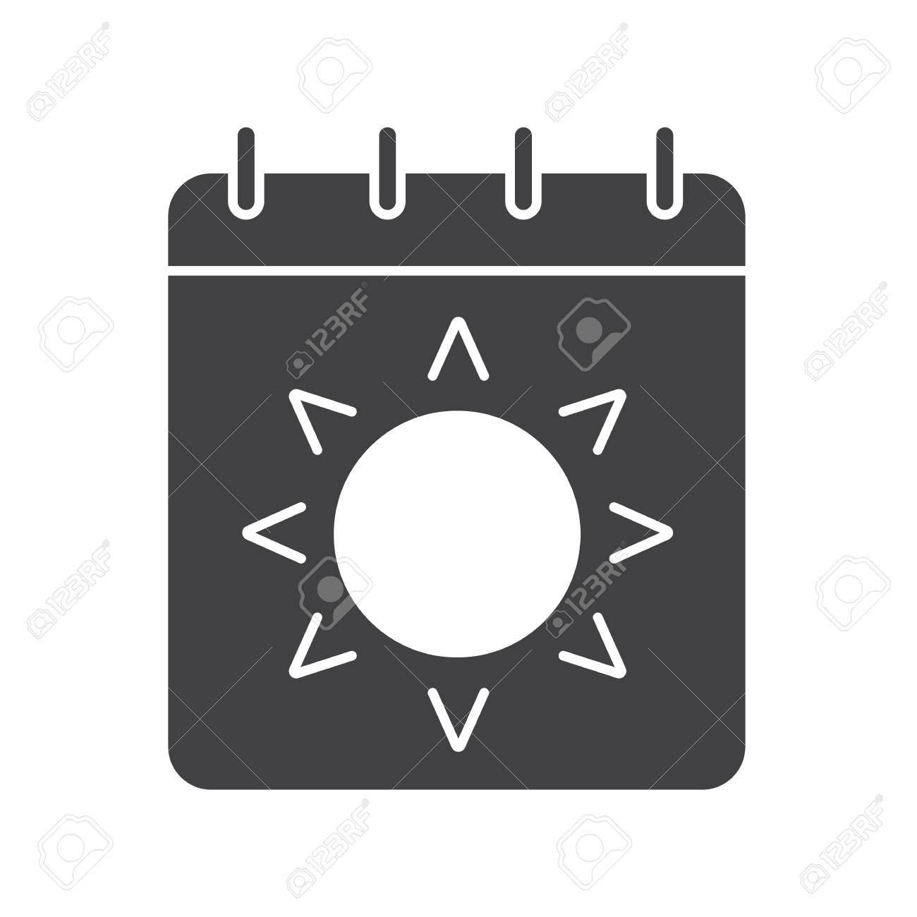 Summer Season Glyph Icon. Silhouette Symbol. Calendar Page With ...