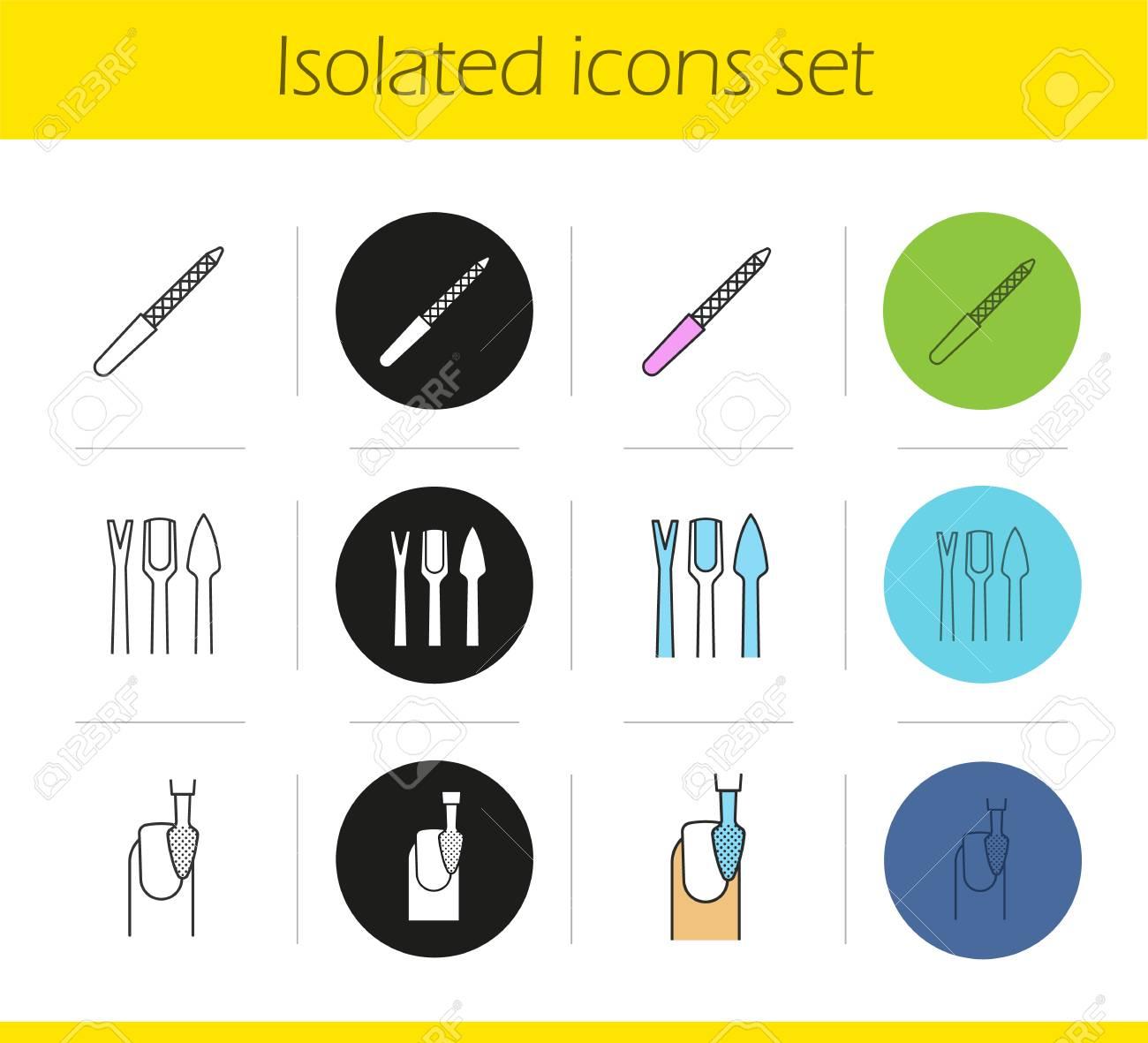 Maniküre-Ausrüstung Icons Set. Lineare, Schwarze Und Farbige Stile ...