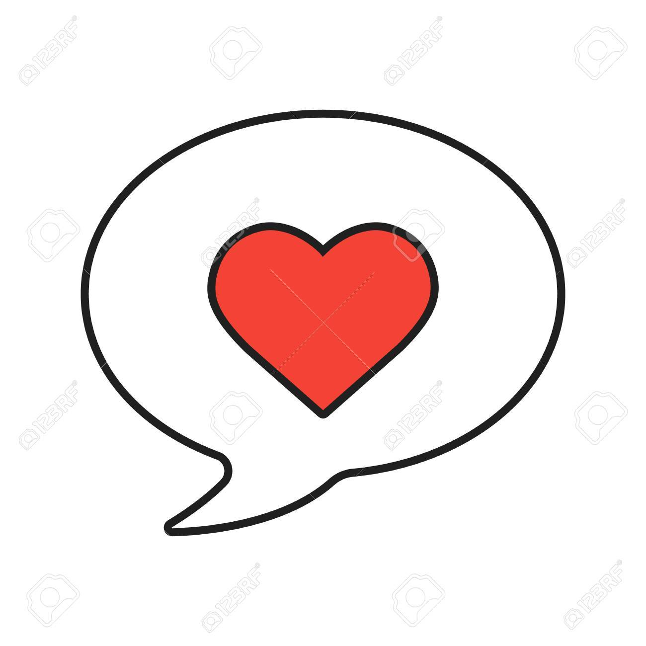 Love Message Linear Icon Thin Line Illustration Romantic Sms