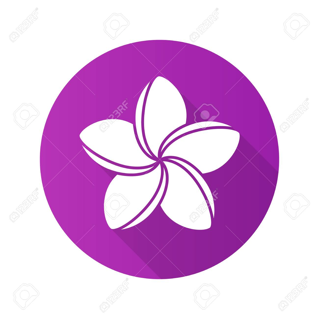 Spa salon plumeria flower. Flat design long shadow icon. Aromatherapy. Vector silhouette symbol - 77758425