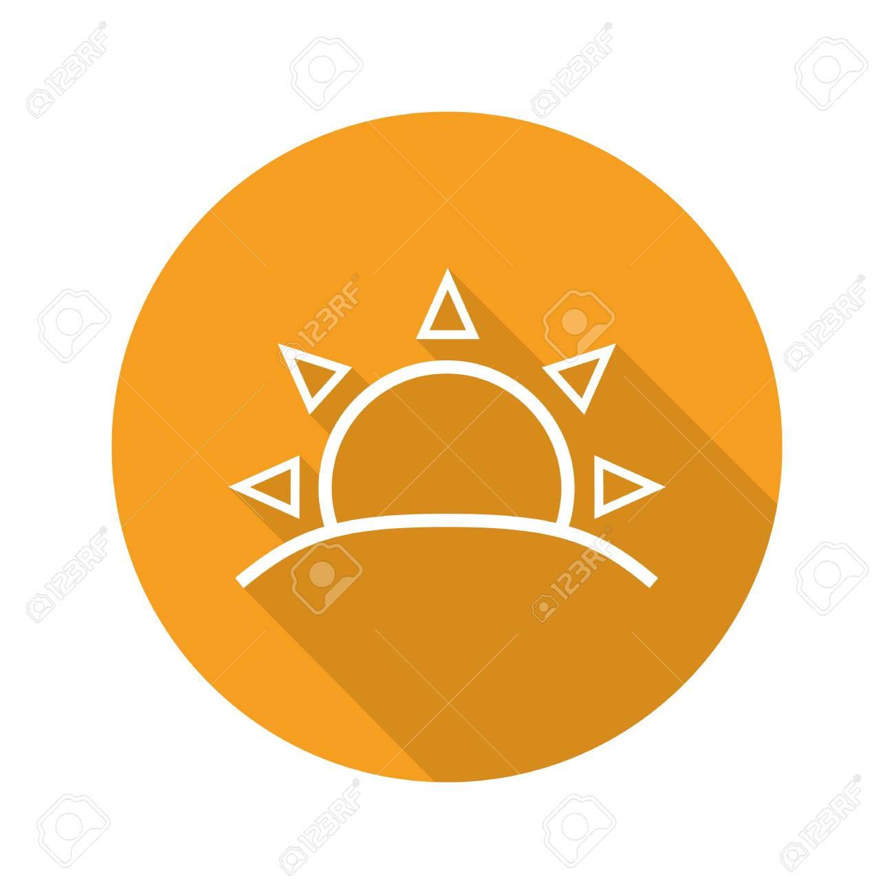 Rising Sun Flat Linear Long Shadow Icon Dawn Vector Line Symbol