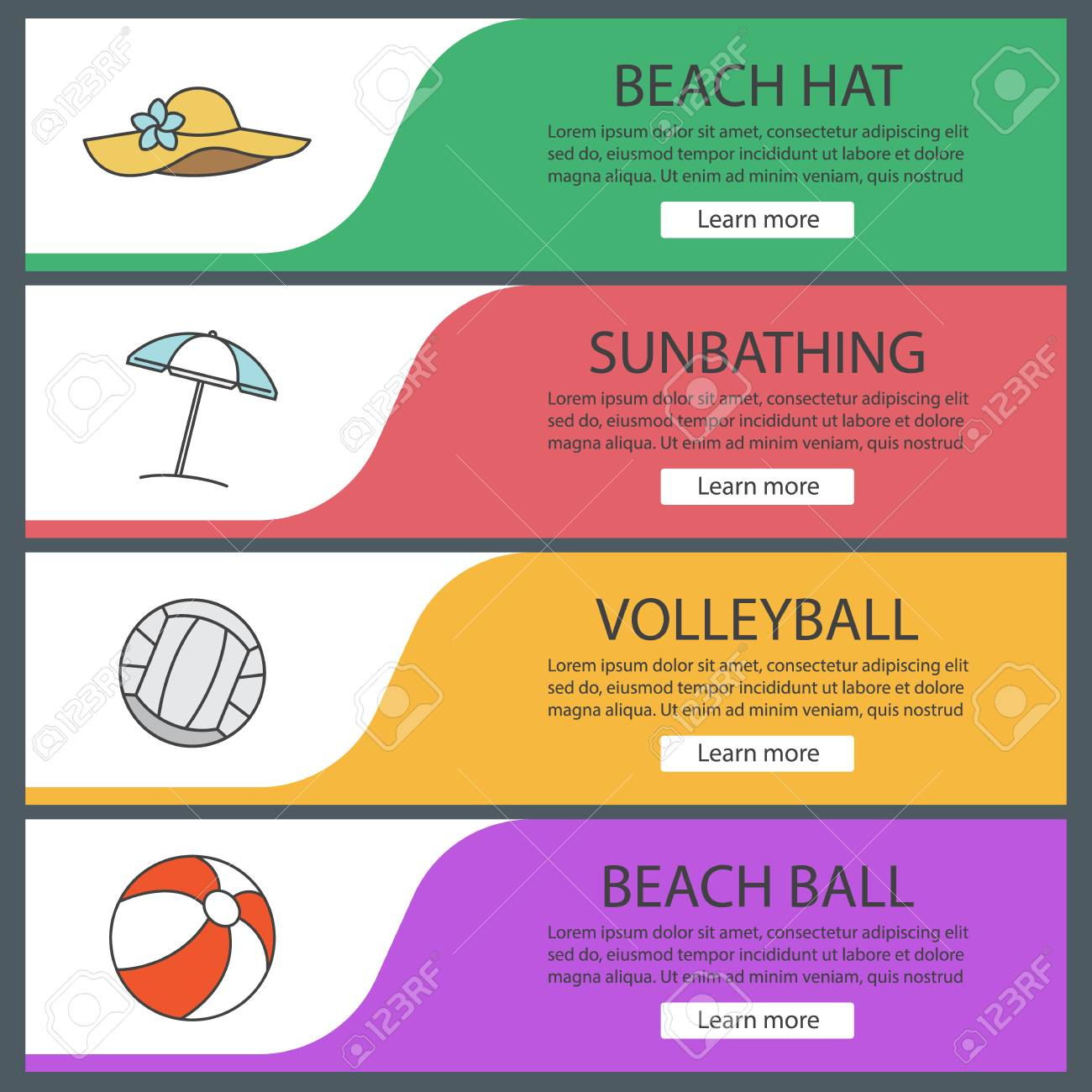 summer banner templates set beach umbrella hat volleyball