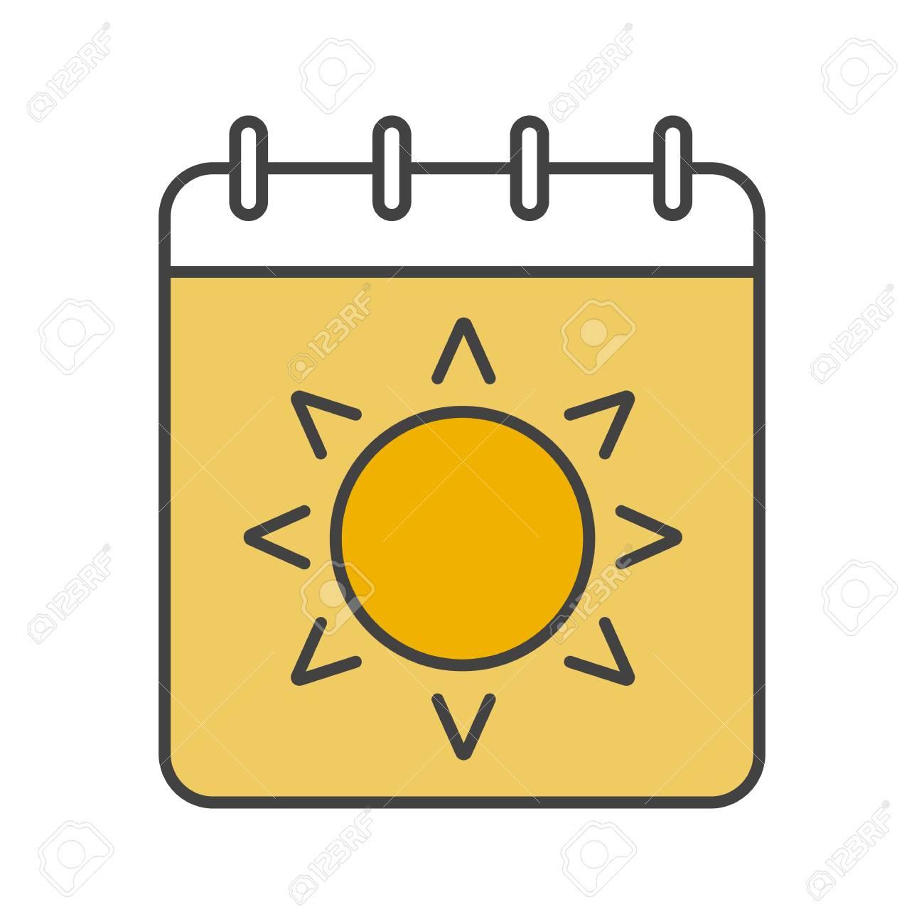 Calendrier Soleil.Icone De Couleur De Saison D Ete Page De Calendrier Avec Le Soleil Illustration Vectorielle Isole