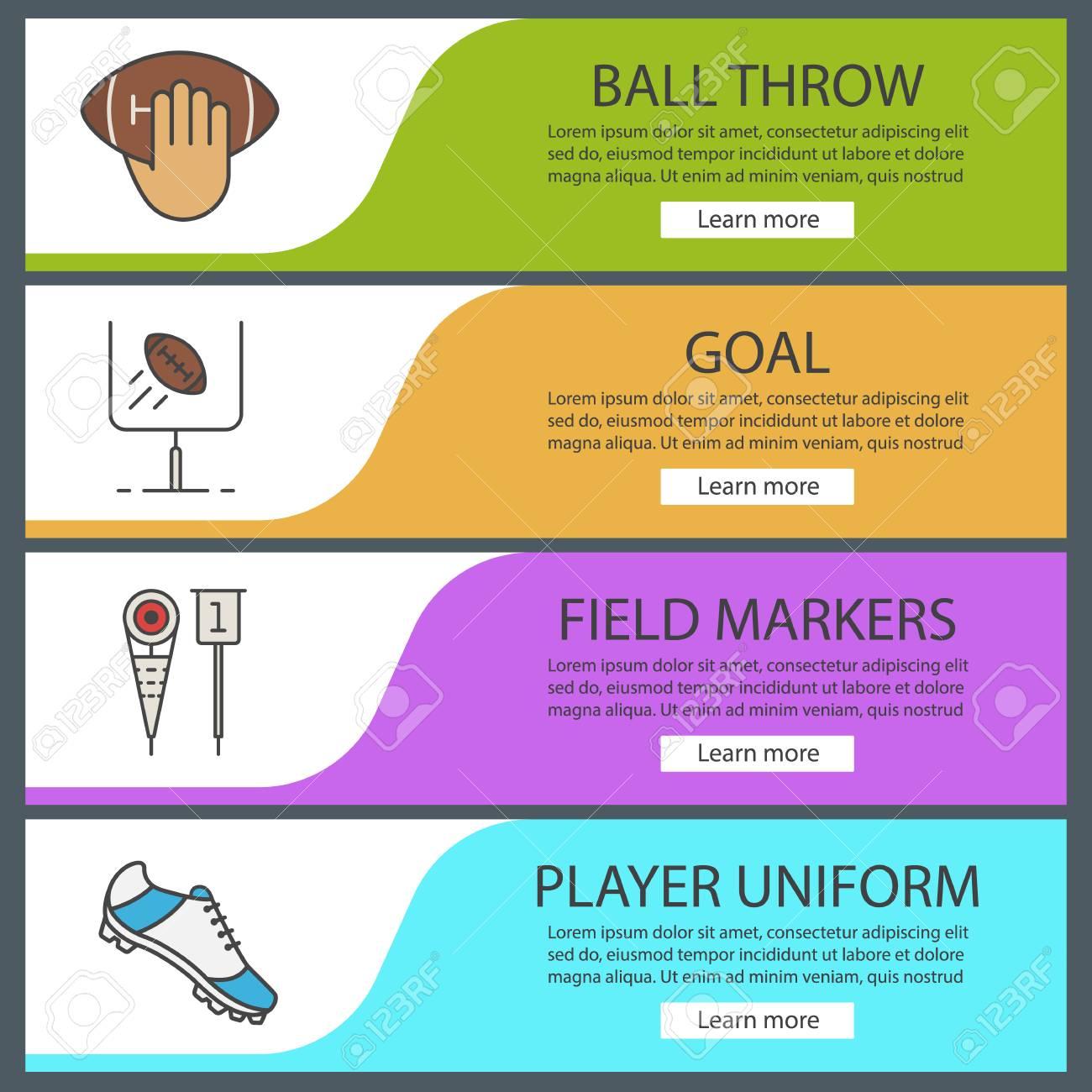 american football banner templates set ball throw goal field