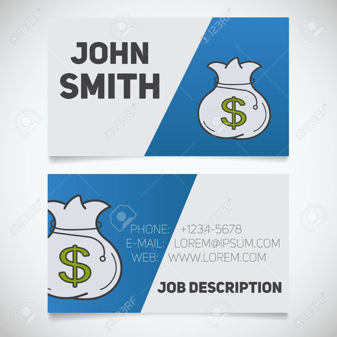 Business Card Print Template With Money Bag Logo. Manager. Financial ...