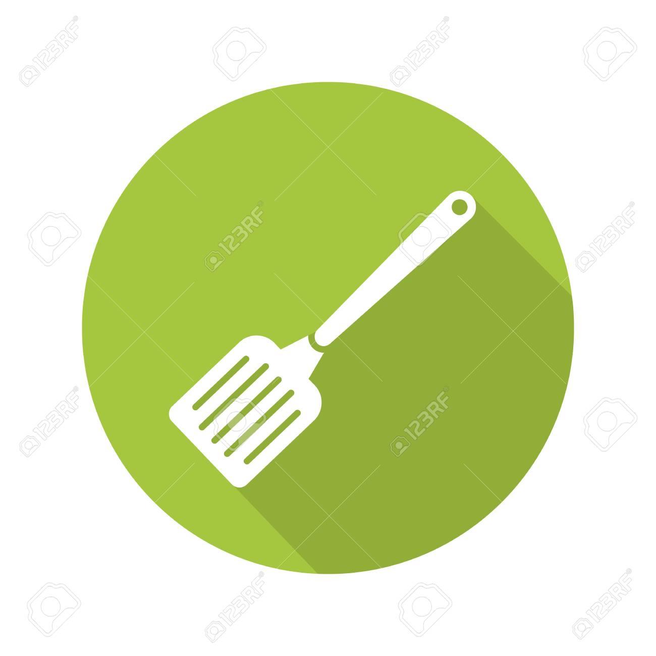 Spatula Flat Design Long Shadow Icon. Kitchen Turner. Vector Silhouette  Symbol Stock Vector