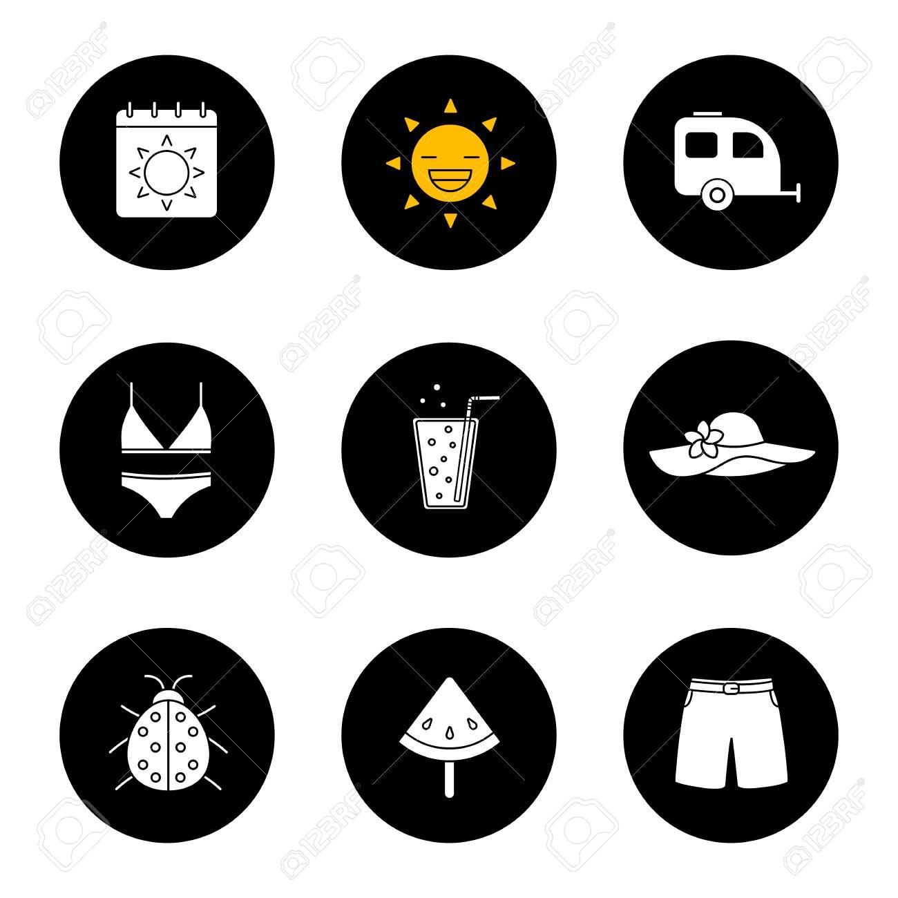 Calendrier Soleil.Jeu D Icones De L Ete Calendrier Soleil Remorque Maillot De Bain Et Chapeau De Plage Limonade Coccinelle Pasteque Sur Baton Maillot De Bain