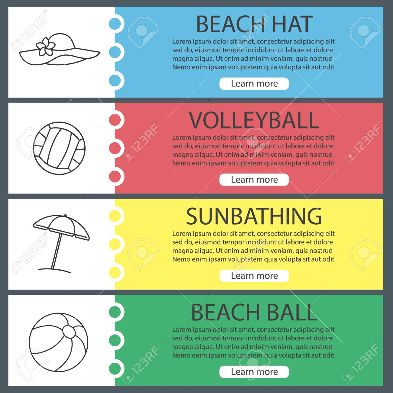 Summer Web Banner Templates Set Volleyball And Beach Balls