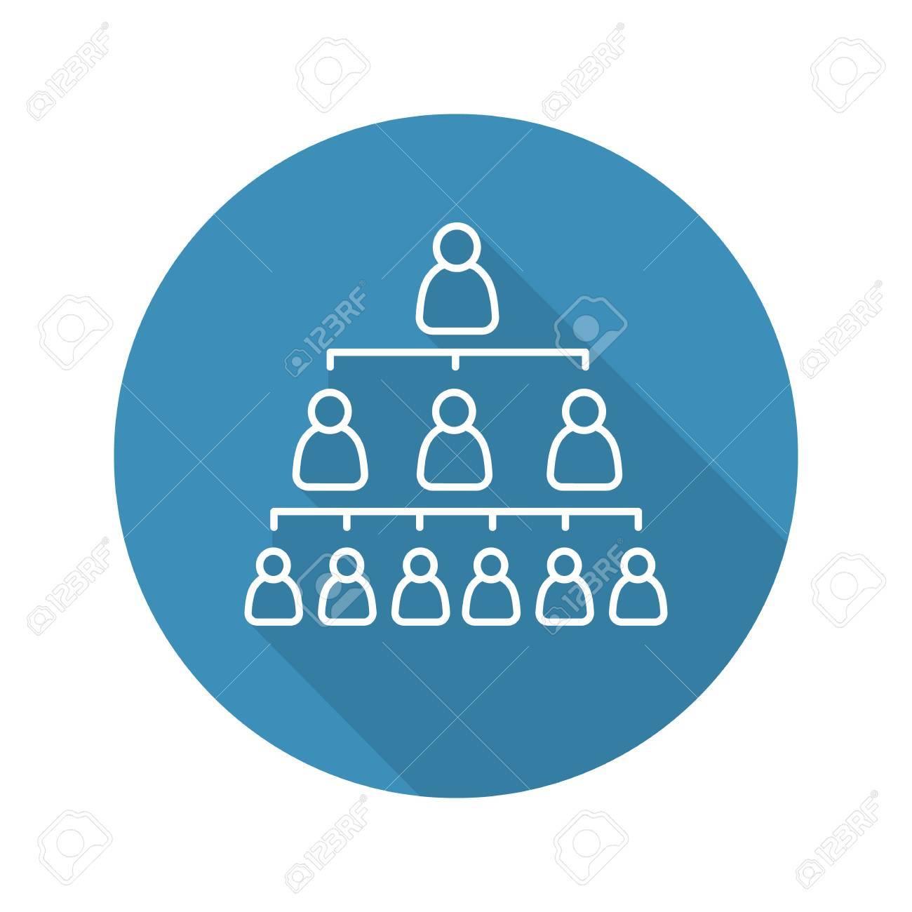 Jerarquía De La Empresa Plana Icono De Sombra Lineal Largo Liderazgo Estructura De Organización Vector Línea Símbolo