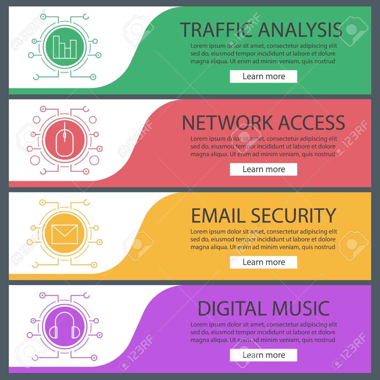 digital banner templates set diagram computer mouse email