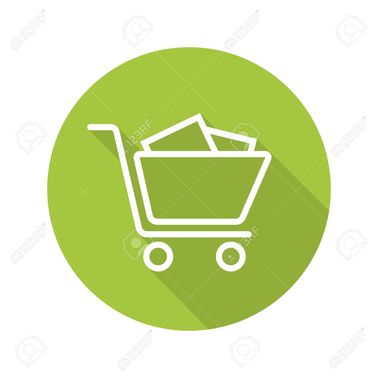 Shopping cart with boxes. Flat linear long shadow icon. Vector line symbol - 80932536