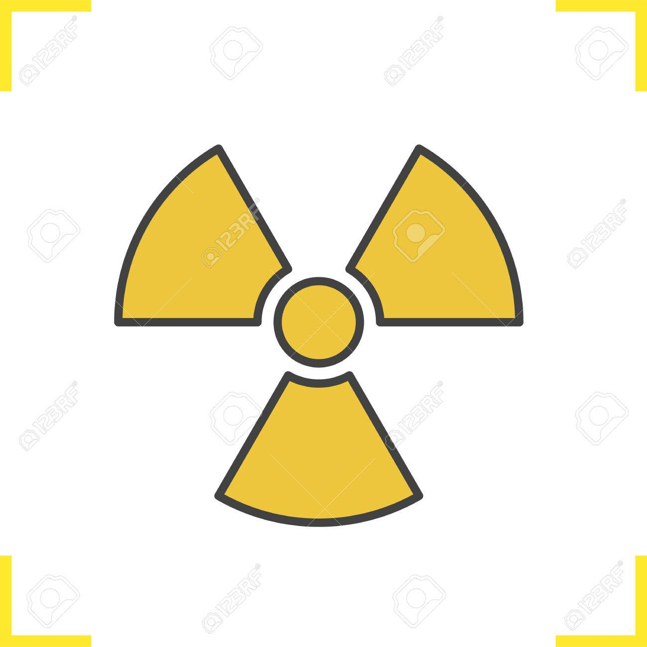 Radiation Sign Color Icon Radioactive Danger Symbol Nuclear