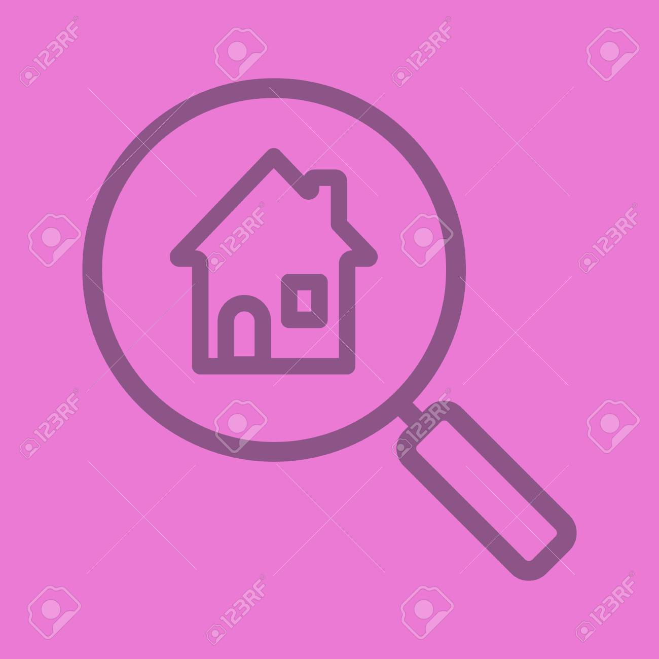 Real Estate Search/Find House For Rent Color Linear Icon. Magnifying ...