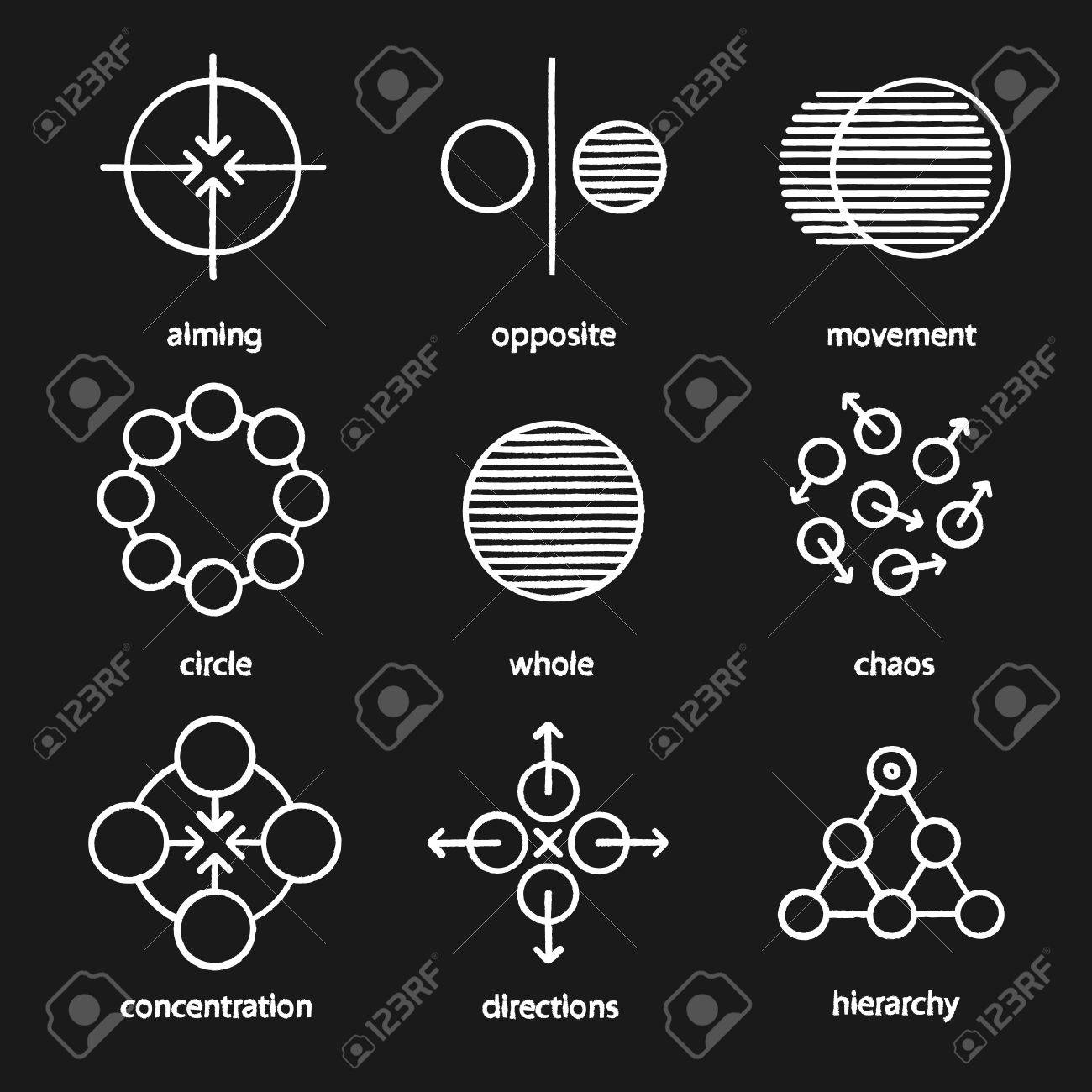 Abstract symbols chalk icons set aiming opposite movement abstract symbols chalk icons set aiming opposite movement circle whole biocorpaavc Image collections