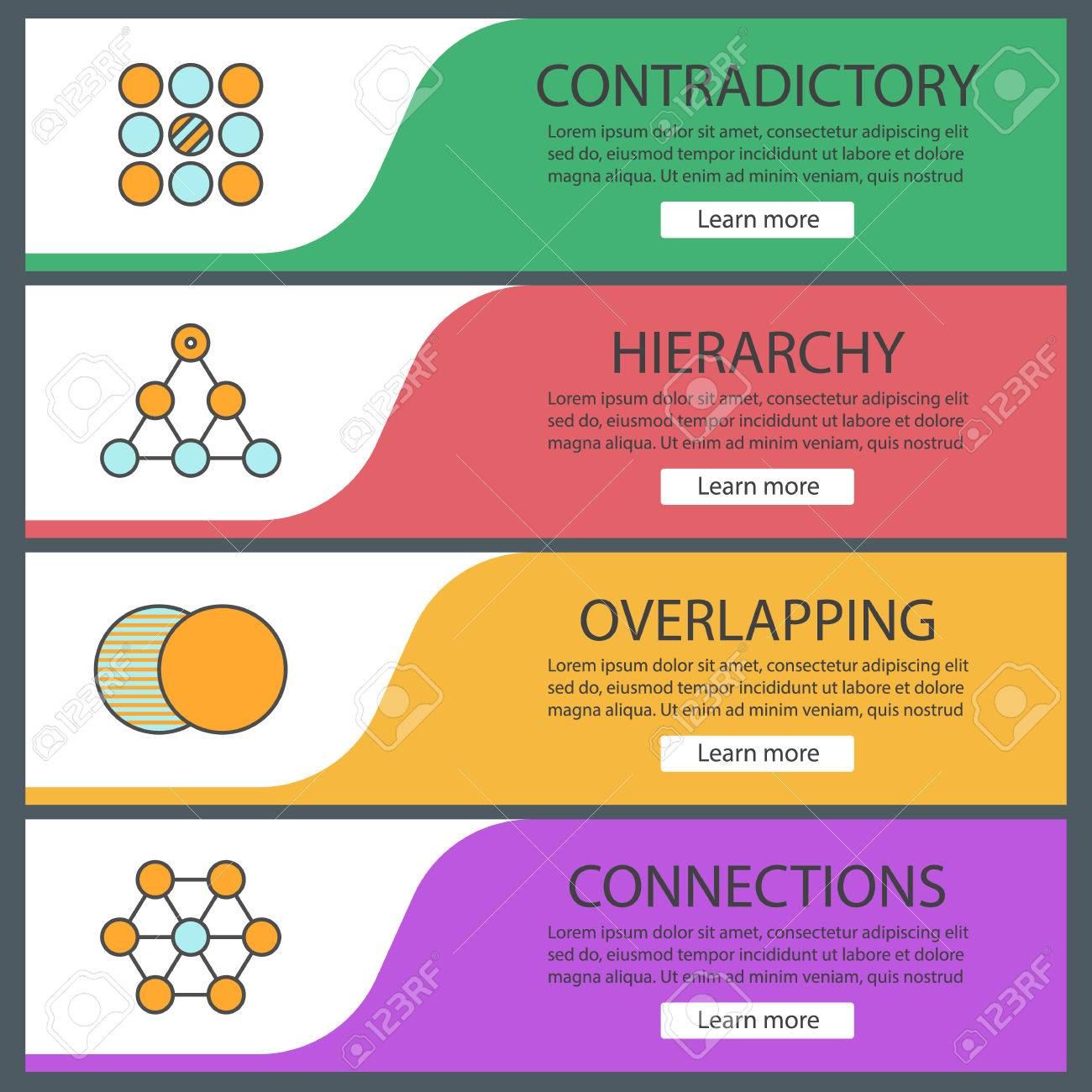 abstract symbols web banner templates set contradictory hierarchy