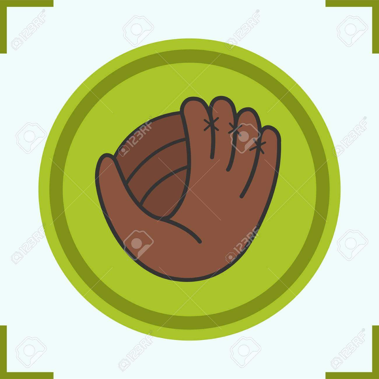 baseball glove color icon softball mitt isolated vector rh 123rf com
