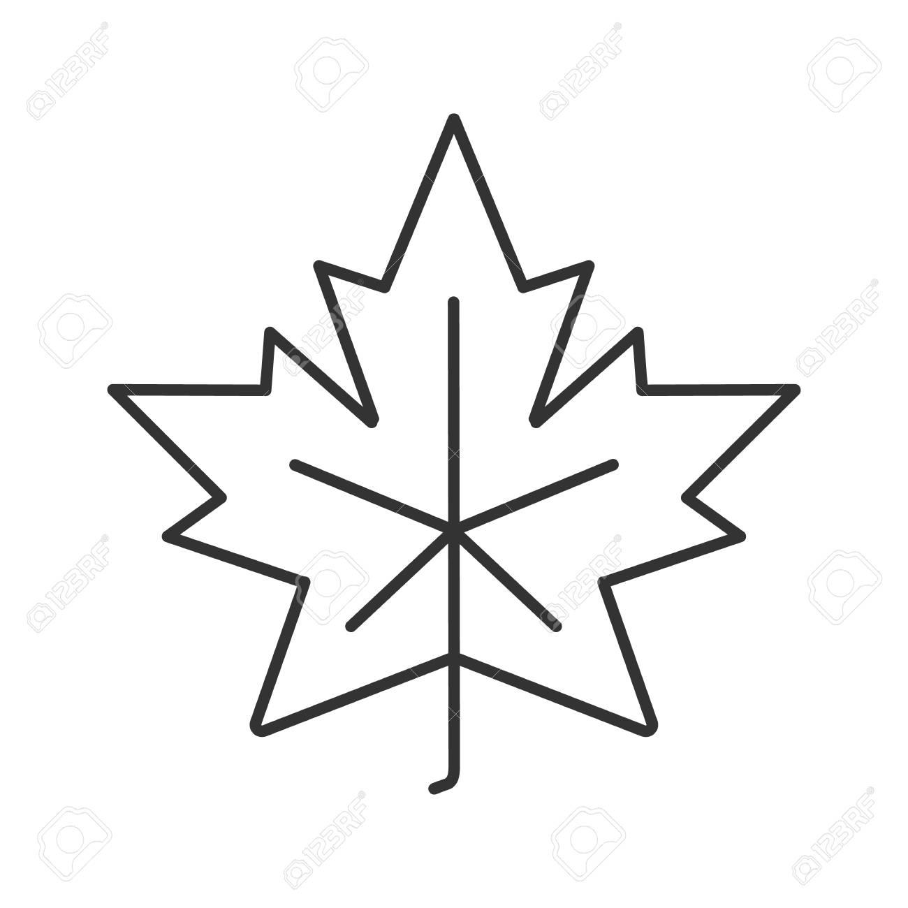 Maple Leaf Linear Icon Canada Symbol Contour Symbol Autumn