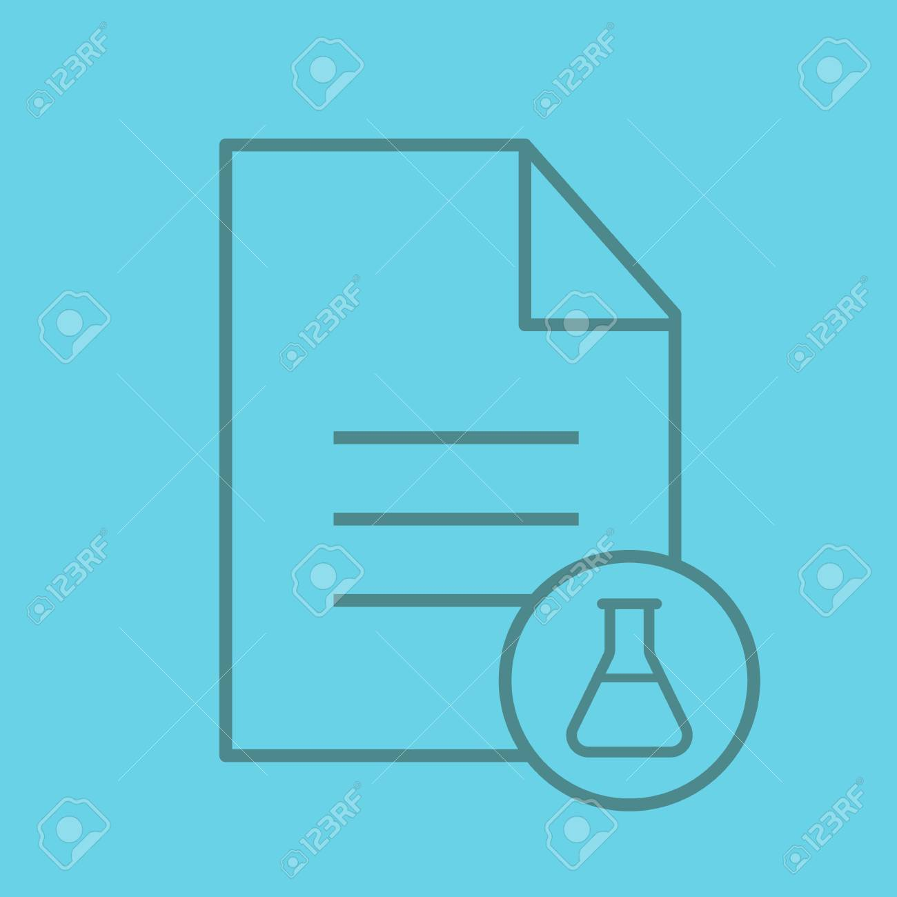 Medical Test Results Color Linear Icon Text Document With Lab