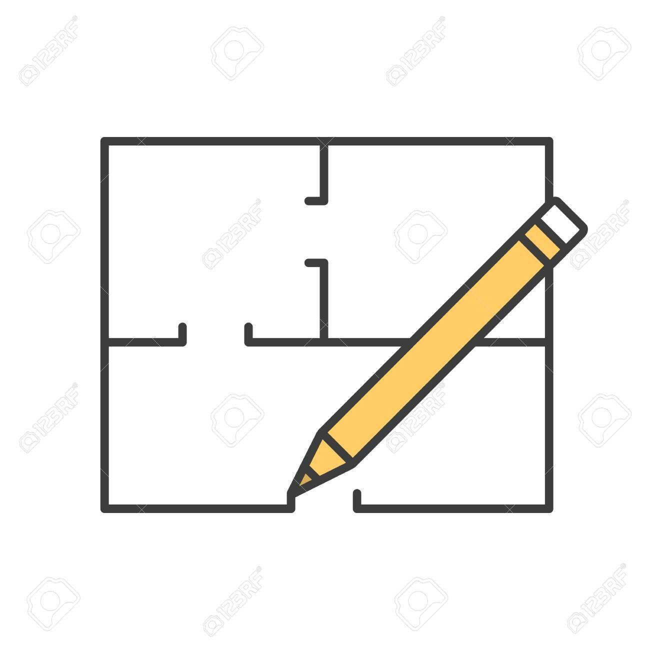 Floor plan flat blueprint with pencil color icon apartment floor plan flat blueprint with pencil color icon apartment layout house engineering malvernweather Images