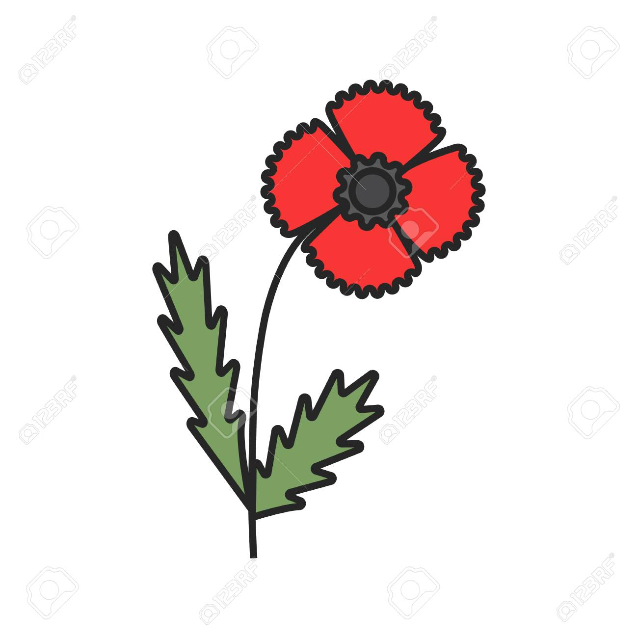 Poppy Flower Color Icon. Isolated Vector Illustration Royalty Free ...