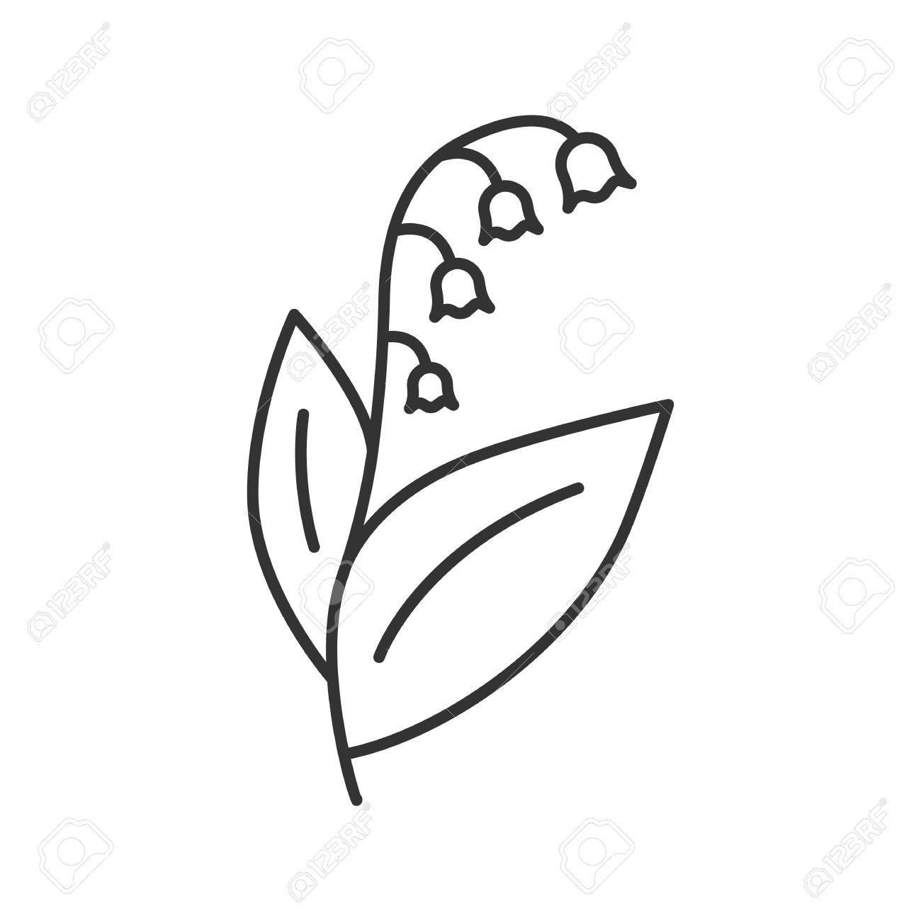 Muguet Icone Lineaire De May Lily Illustration De Ligne Mince