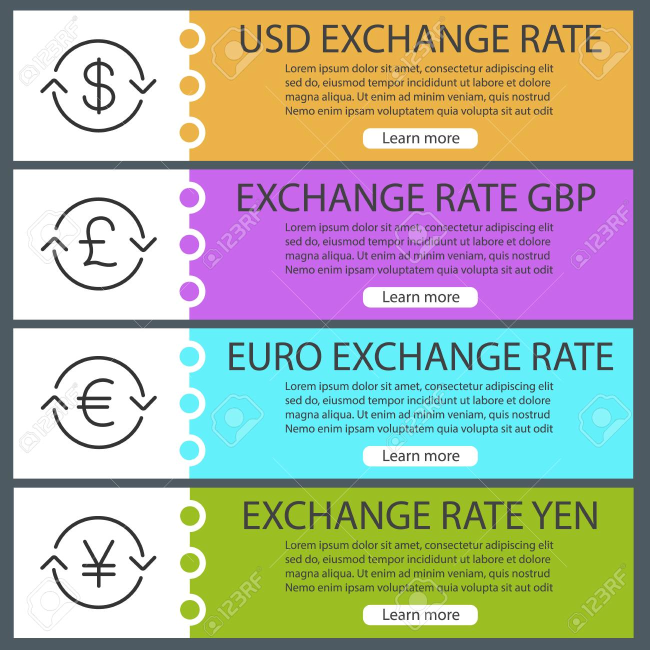 currencies exchange rate web banner templates set us dollar euro pound yen