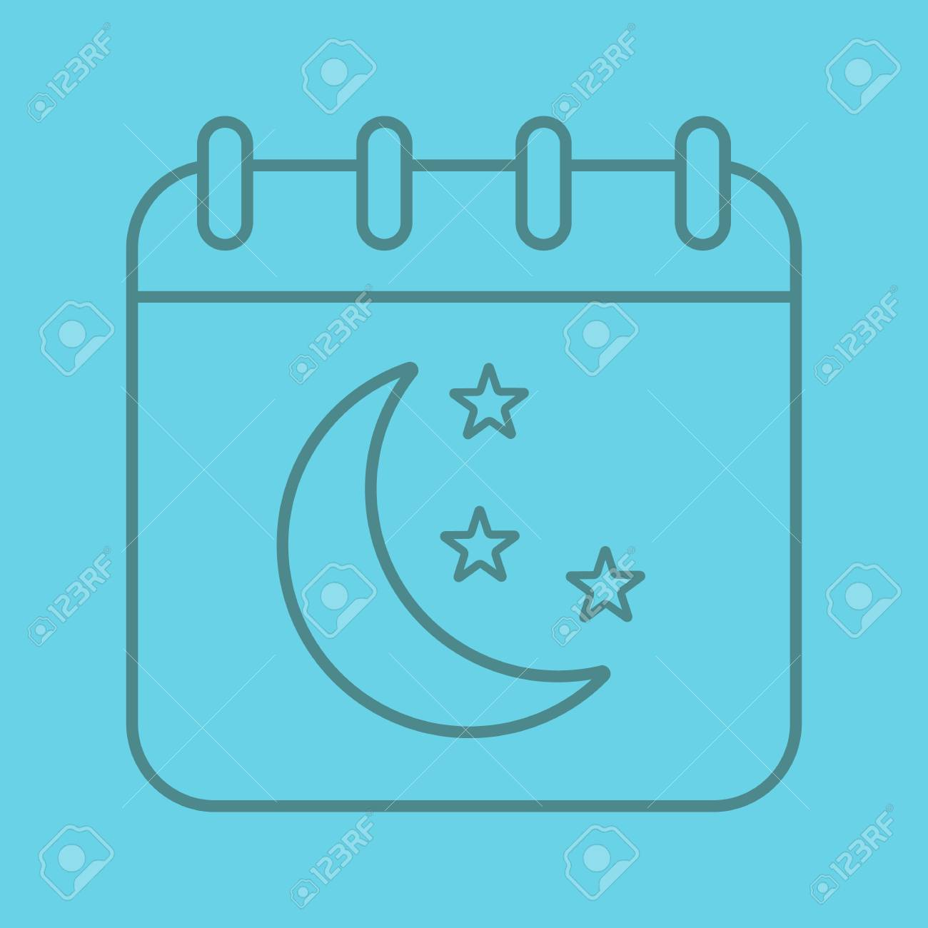 Night Calendar Color Linear Icon Calendar Page With Moon And