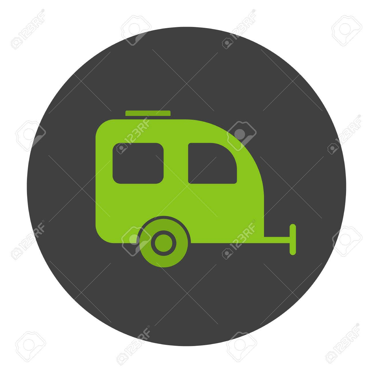 Camping Trailer Glyph Color Icon Silhouette Symbol On Black Background Negative Space Vector
