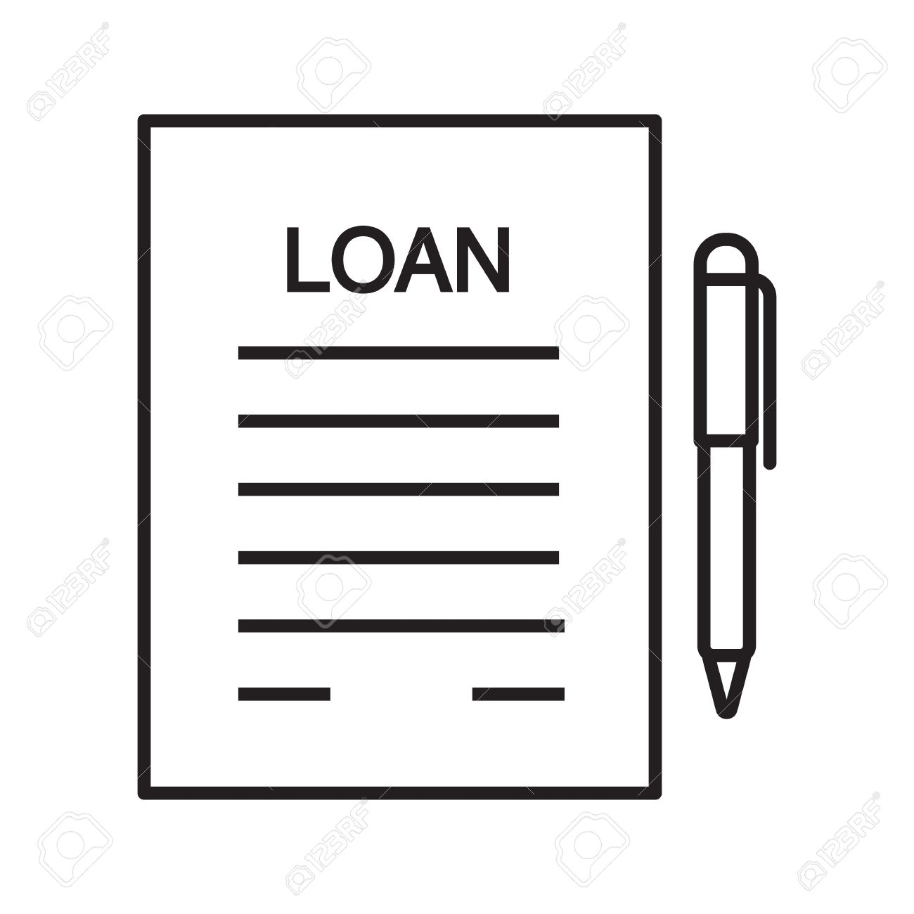 Loan Agreement, Contract Linear Icon. Mortgage Document Thin Line  Illustration. Loan Paper With  Loan Document
