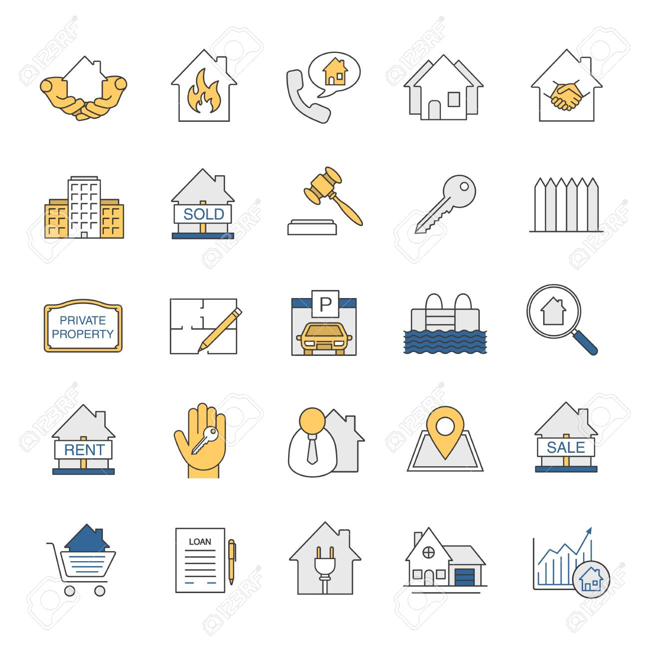 Real estate market color icons set property development building real estate market color icons set property development building business home house malvernweather Gallery