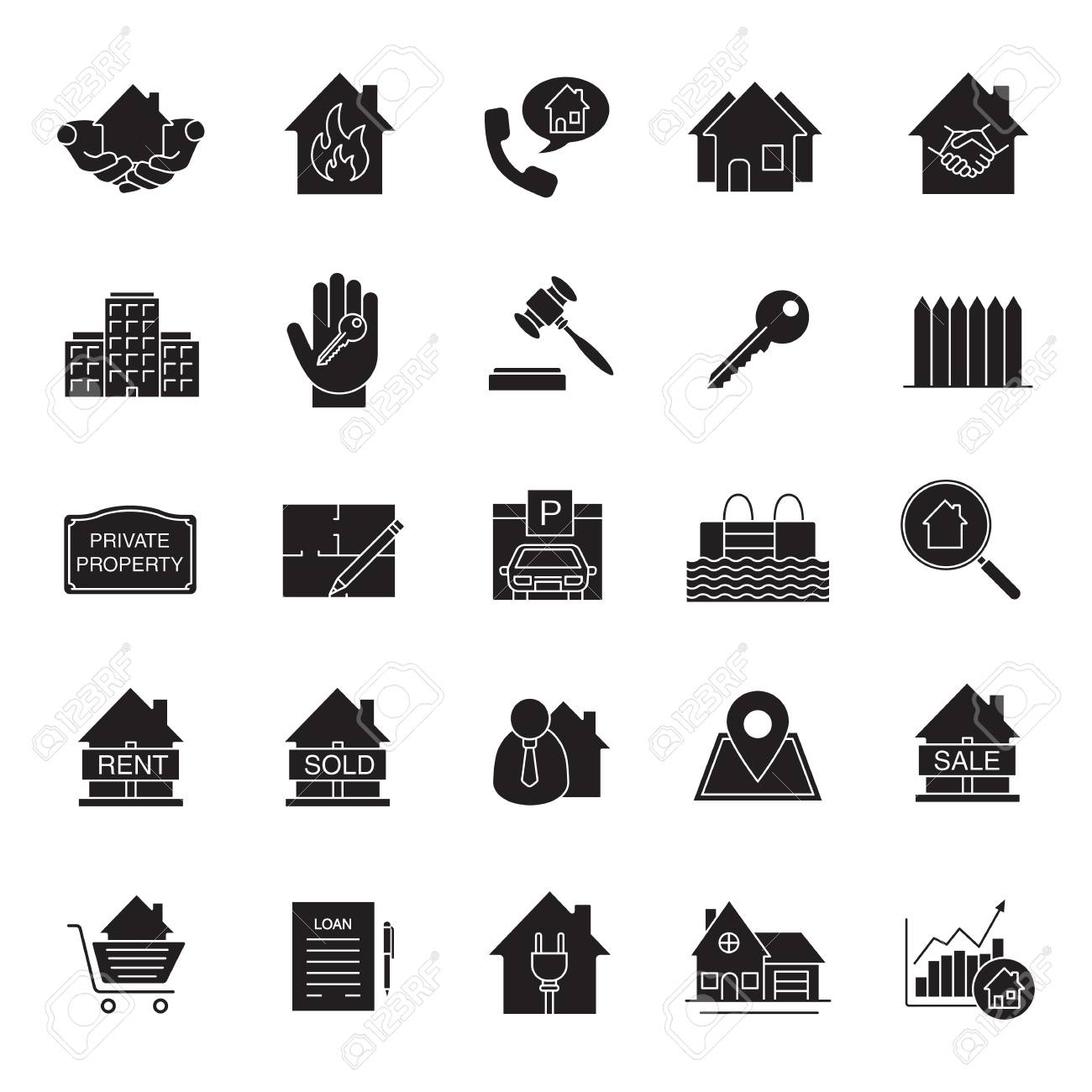 Real estate market glyph icons set property development silhouette real estate market glyph icons set property development silhouette symbols building business home malvernweather Gallery