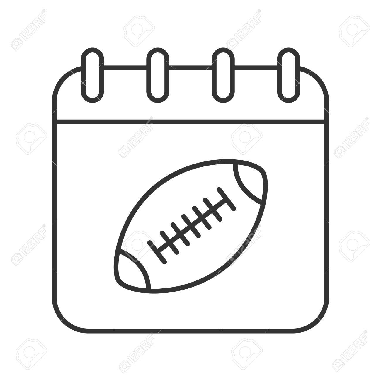 Super Bowl Date Linear Icon Thin Line Illustration Calendar