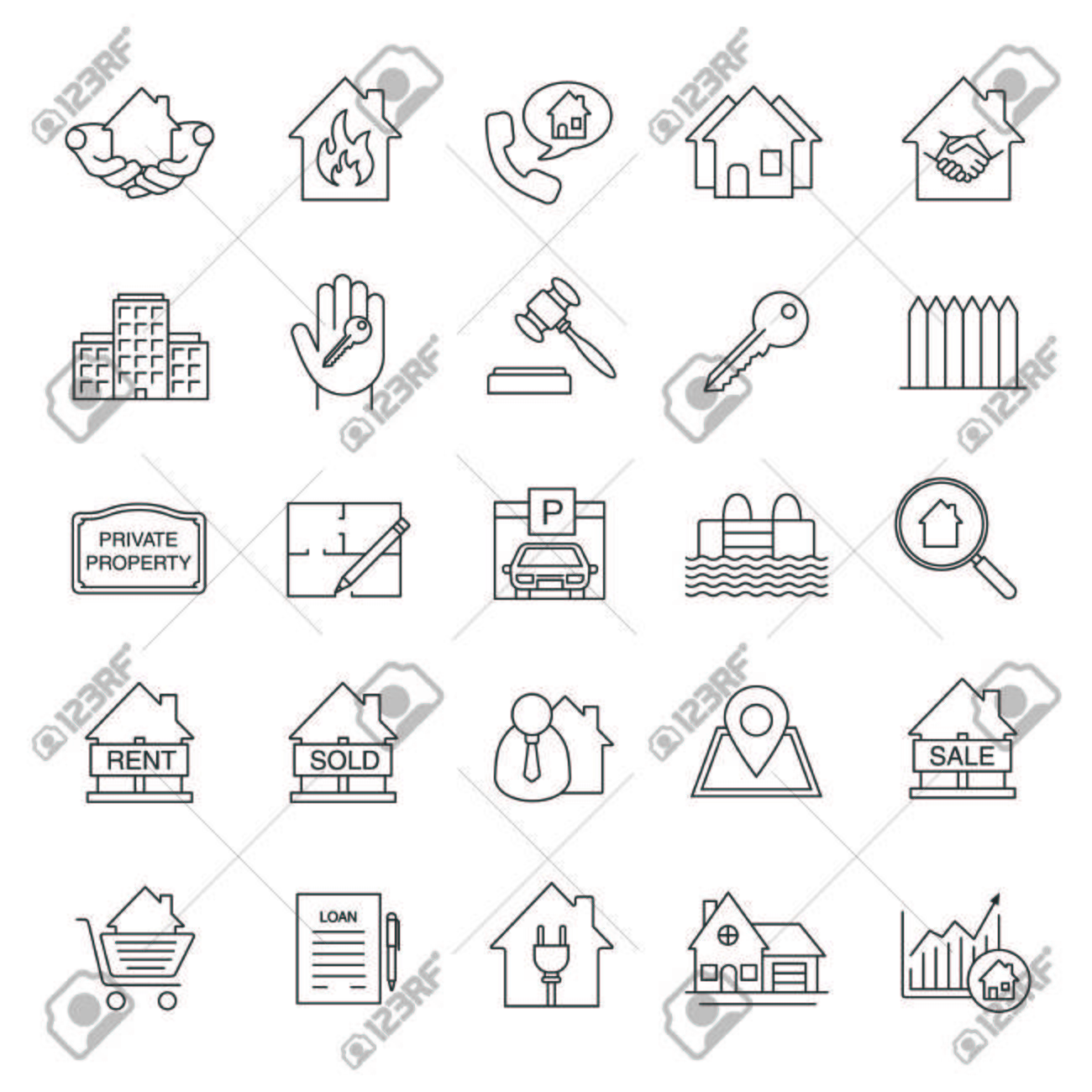 Real estate market linear icons set property development thin real estate market linear icons set property development thin line symbols building business malvernweather Gallery