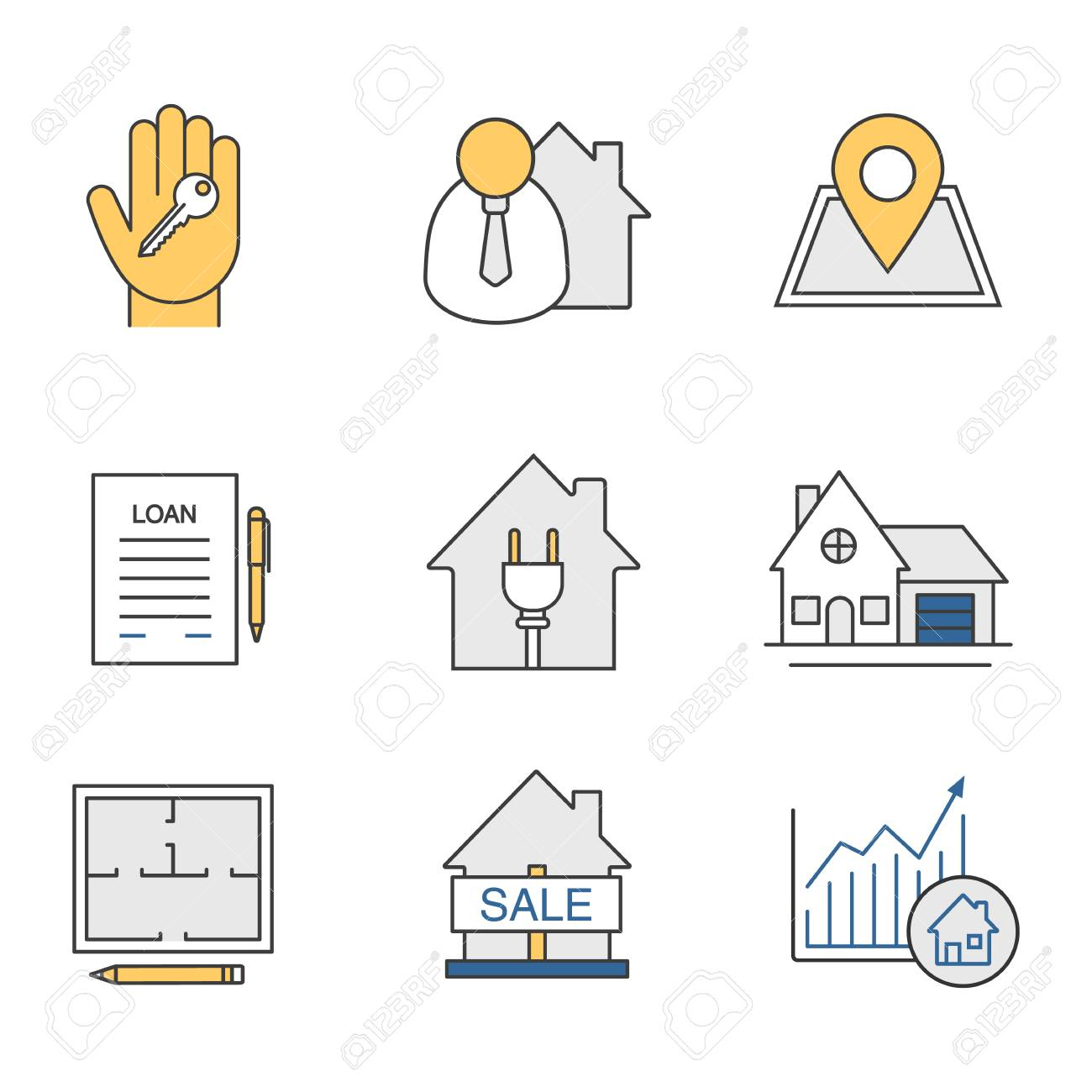 Real Estate Market Color Icons Set Broker Loan Agreement Cottage Royalty Free Cliparts Vectors And Stock Illustration Image 84480190