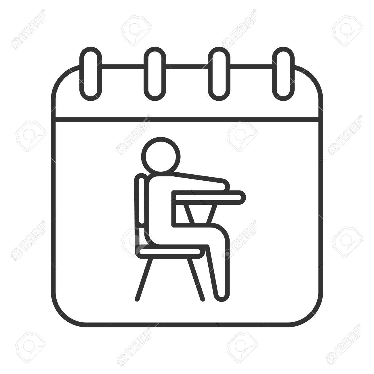 Calendario Dibujo Septiembre.1 De Septiembre Fecha Icono Lineal Ilustracion De Linea Fina Pagina De Calendario Con Simbolo De Contorno Del Alumno Dibujo De Esquema Aislado De