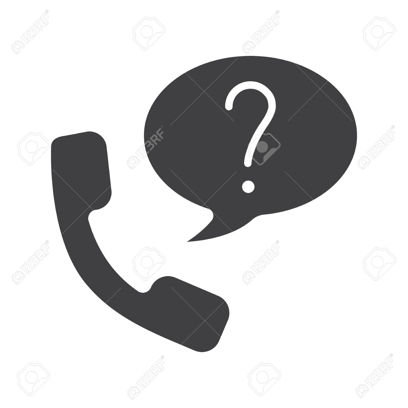 Ask question by phone glyph icon support service silhouette support service silhouette symbol handset with question biocorpaavc Image collections