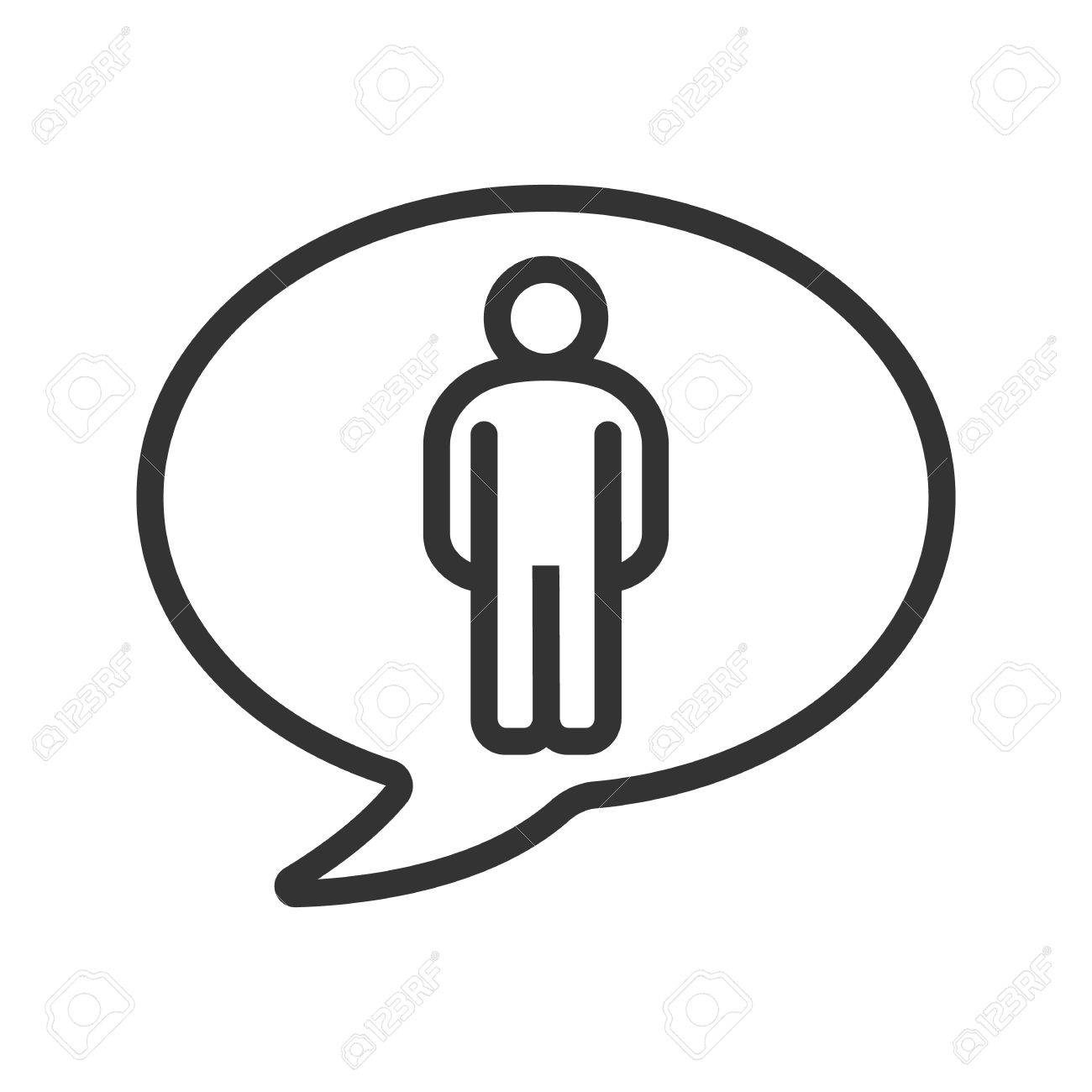 Talk about man linear icon thin line illustration speech bubble talk about man linear icon thin line illustration speech bubble with man figure contour biocorpaavc Gallery