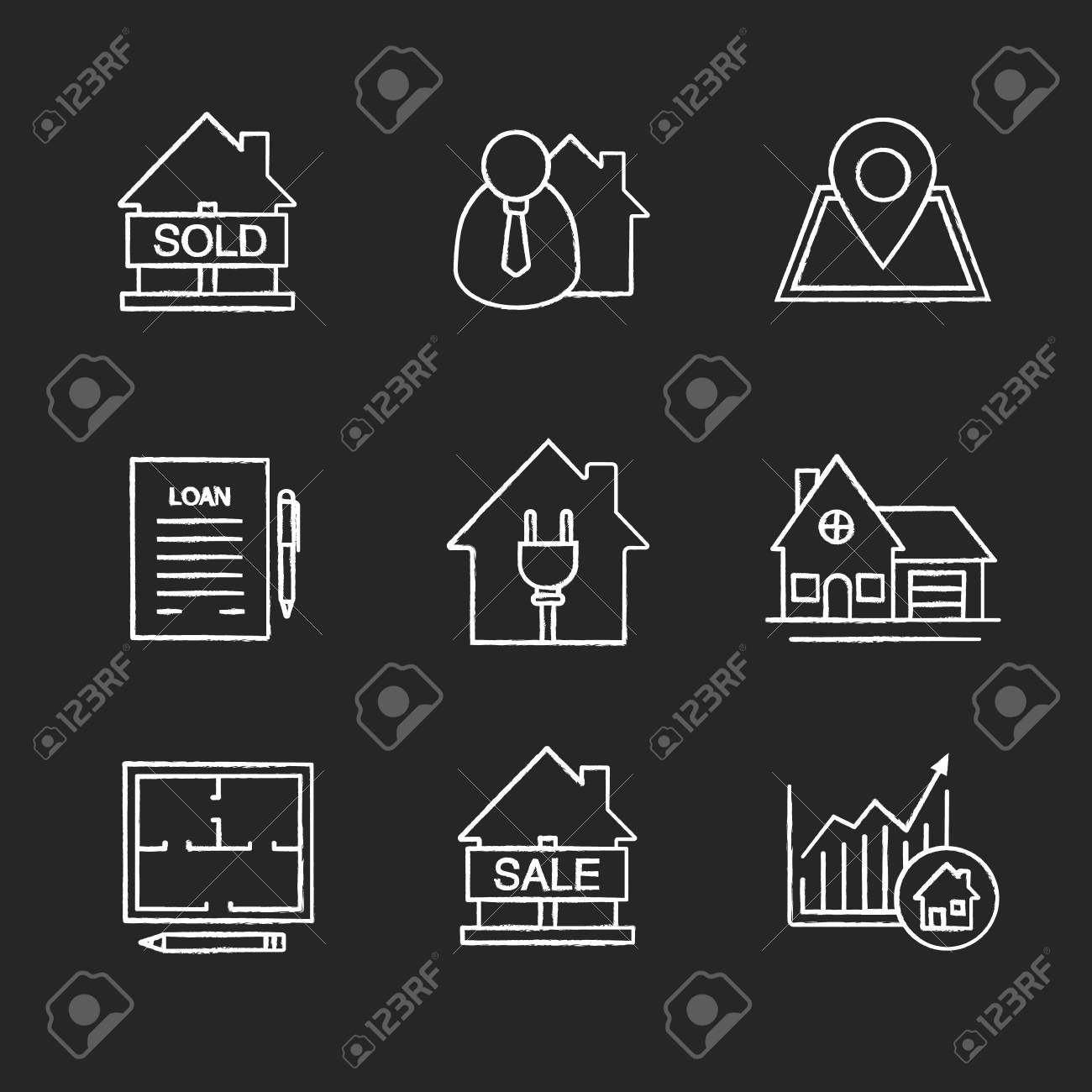 Real Estate Market Chalk Icons Set Sold House Broker Building